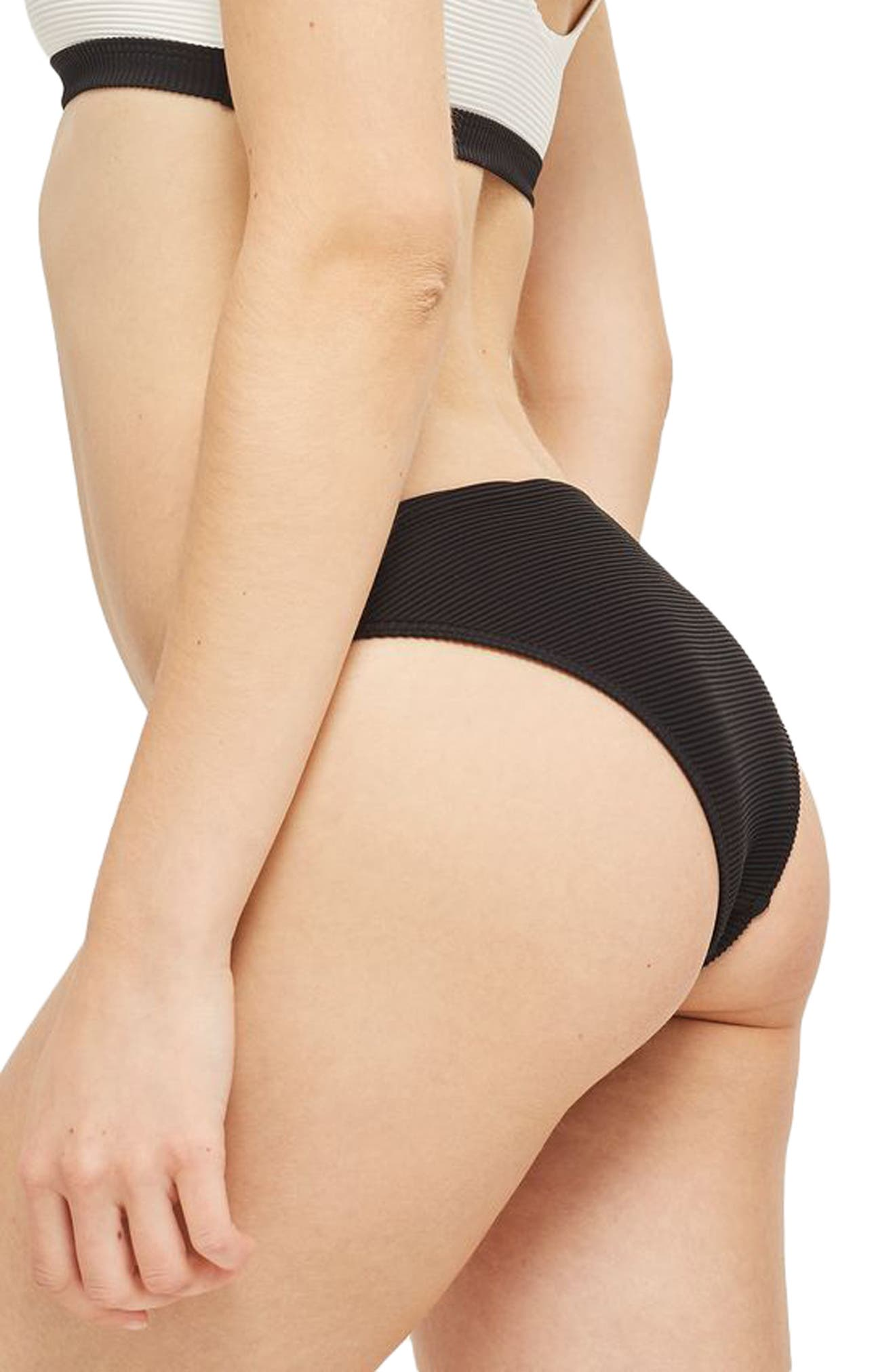 TOPSHOP,                             Ribbed Colorblock Bikini Bottoms,                             Alternate thumbnail 2, color,                             001