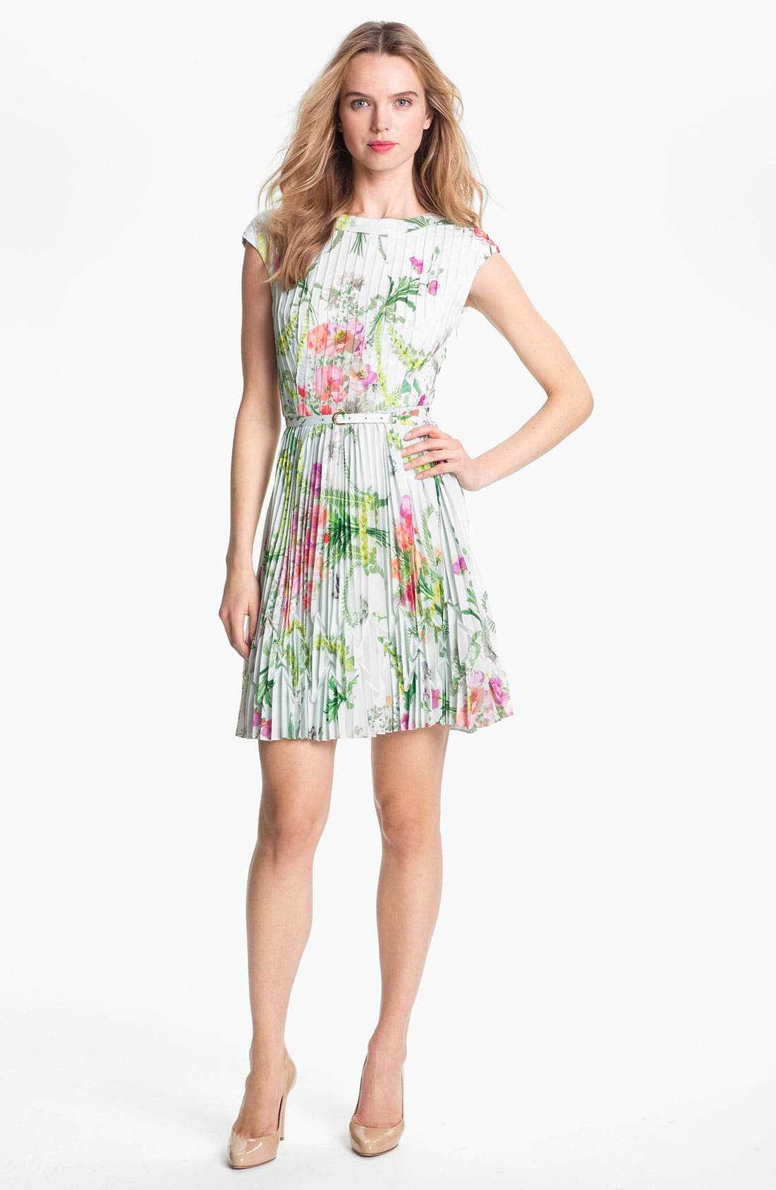 TED BAKER LONDON 'Wallpaper' Pleated A-Line Dress, Main, color, 331