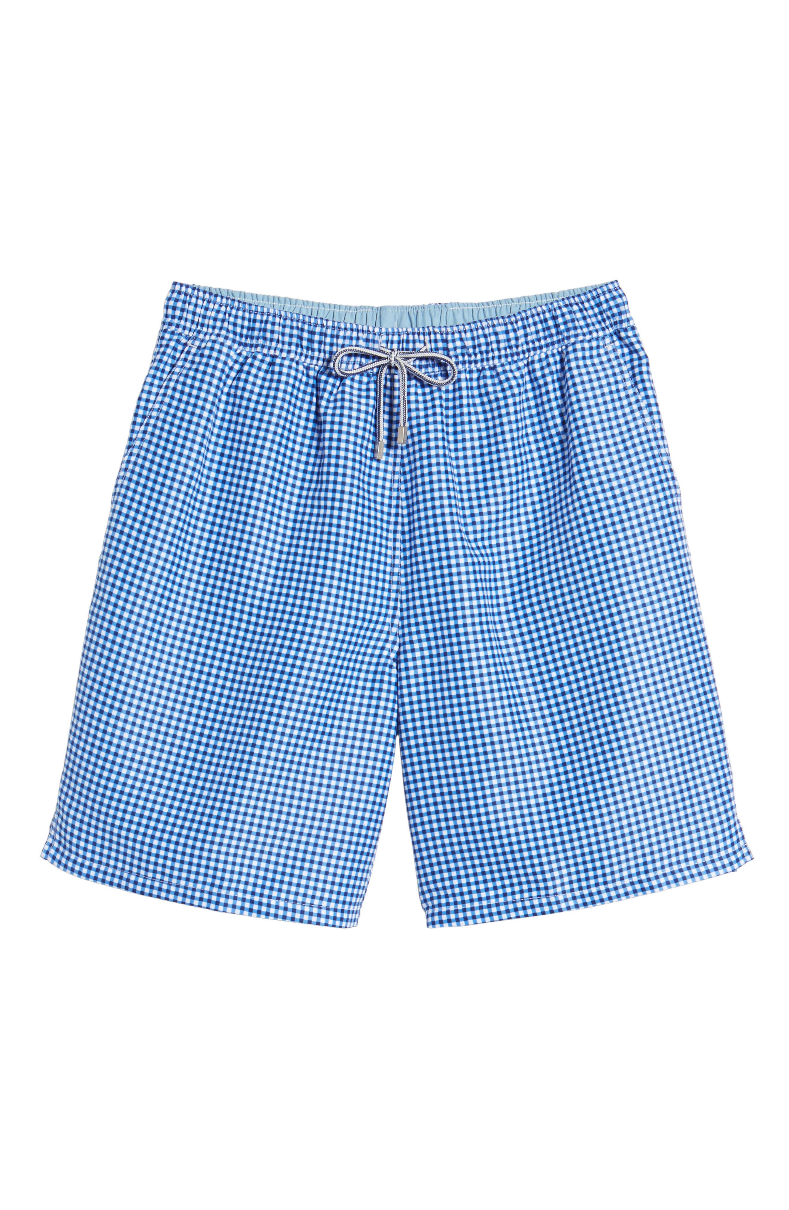 Gingham Style Swim Trunks,                             Alternate thumbnail 6, color,                             ATLANTIC BLUE