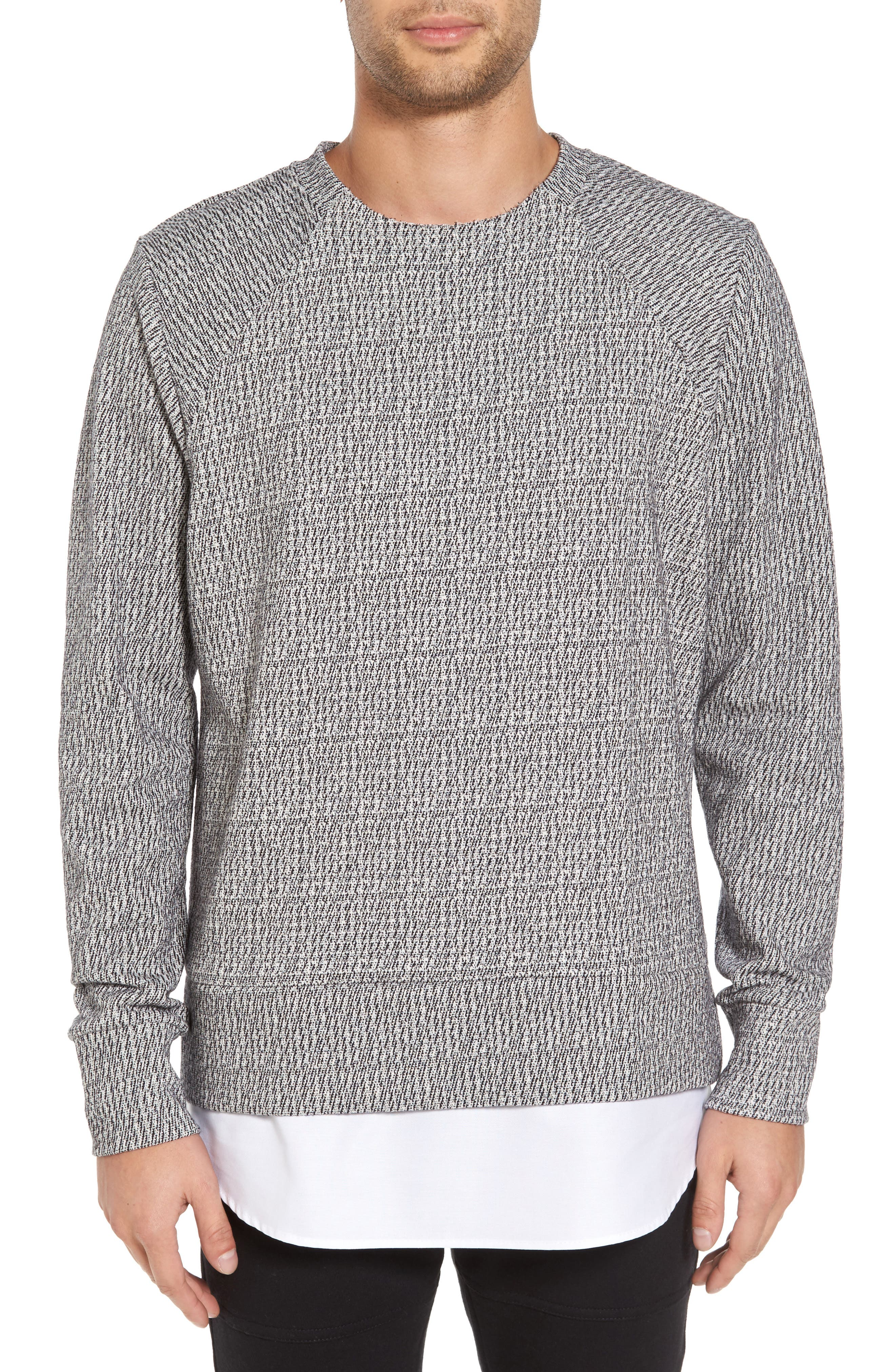 Double Layer Crewneck Sweater,                             Main thumbnail 1, color,                             020