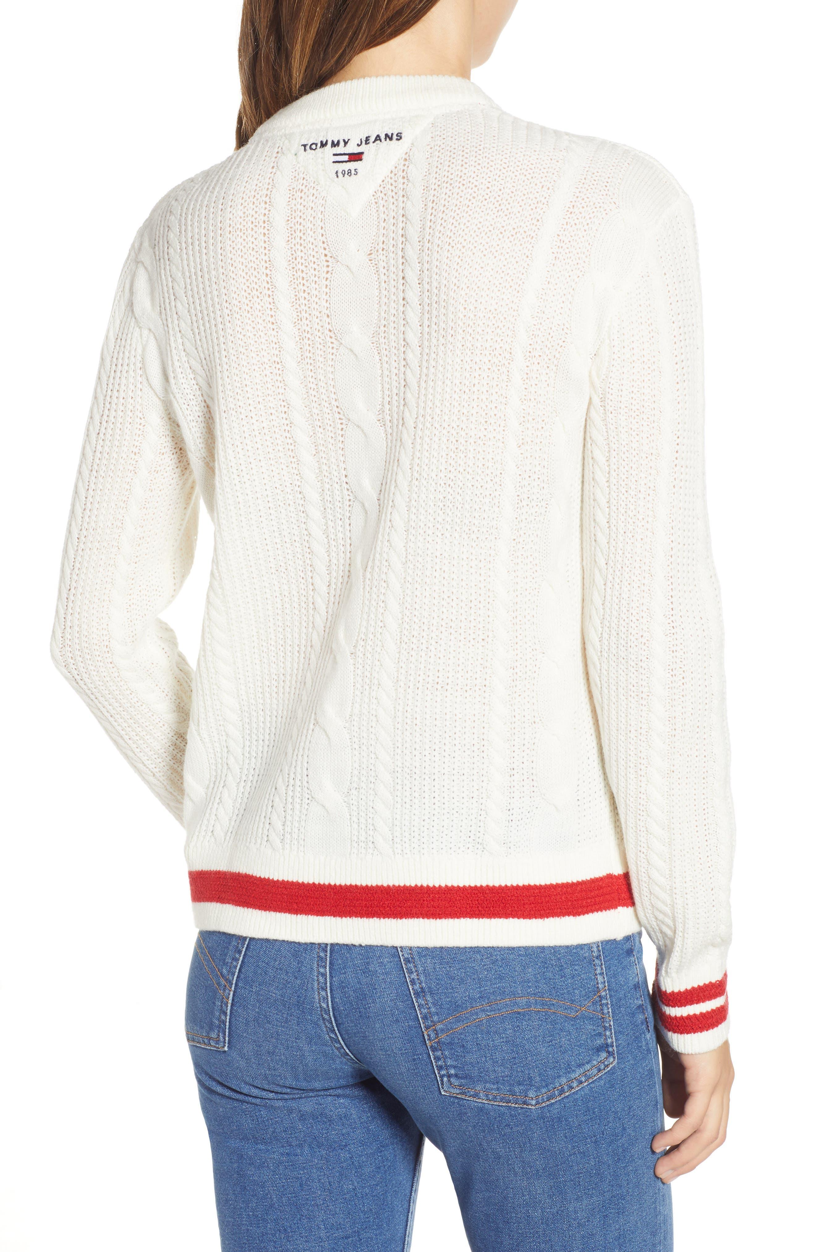 TJW Cable Knit Sweater,                             Alternate thumbnail 2, color,                             CLOUD DANCER