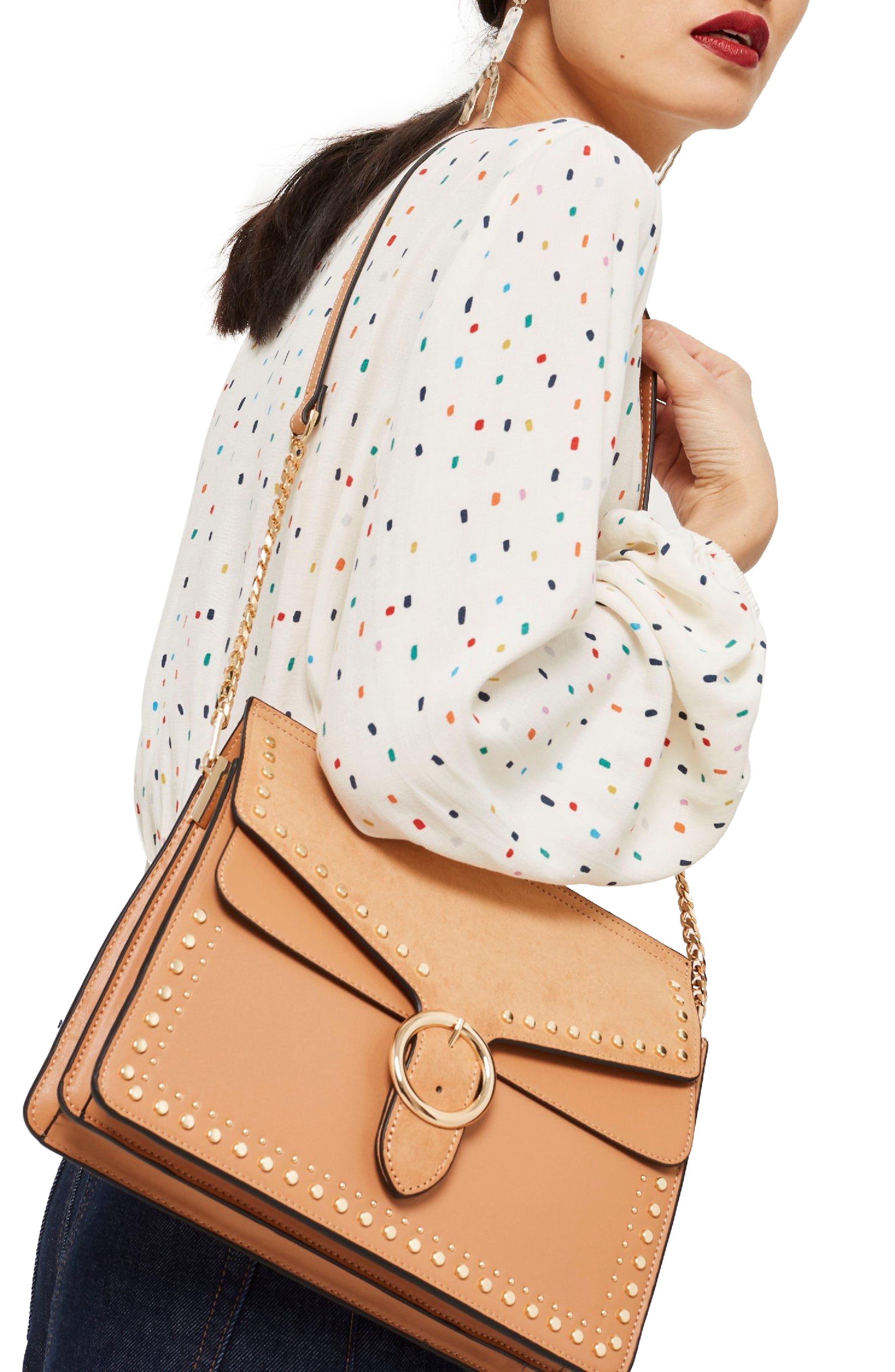 Peony Studded Shoulder Bag,                             Alternate thumbnail 6, color,
