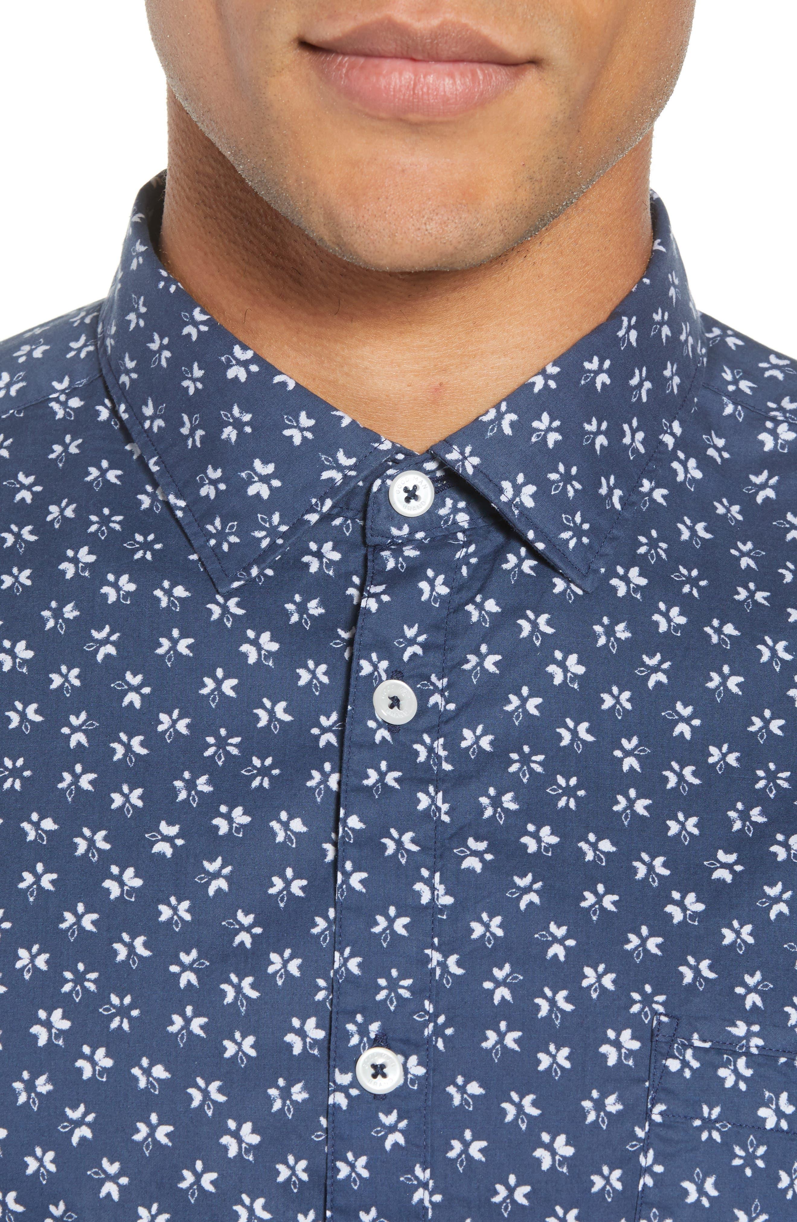 Slim Fit Print Sport Shirt,                             Alternate thumbnail 4, color,                             INDIGO