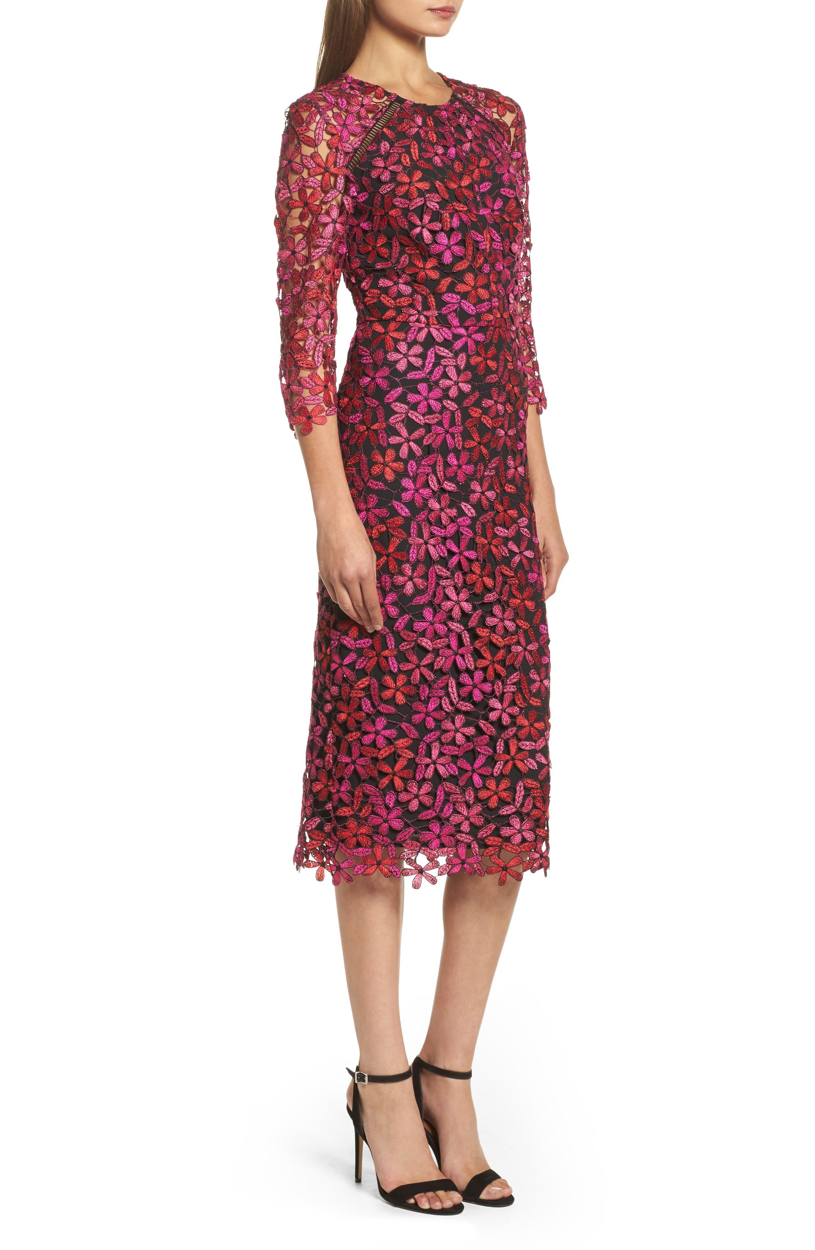 Floral Lace Sheath Dress,                             Alternate thumbnail 3, color,                             651