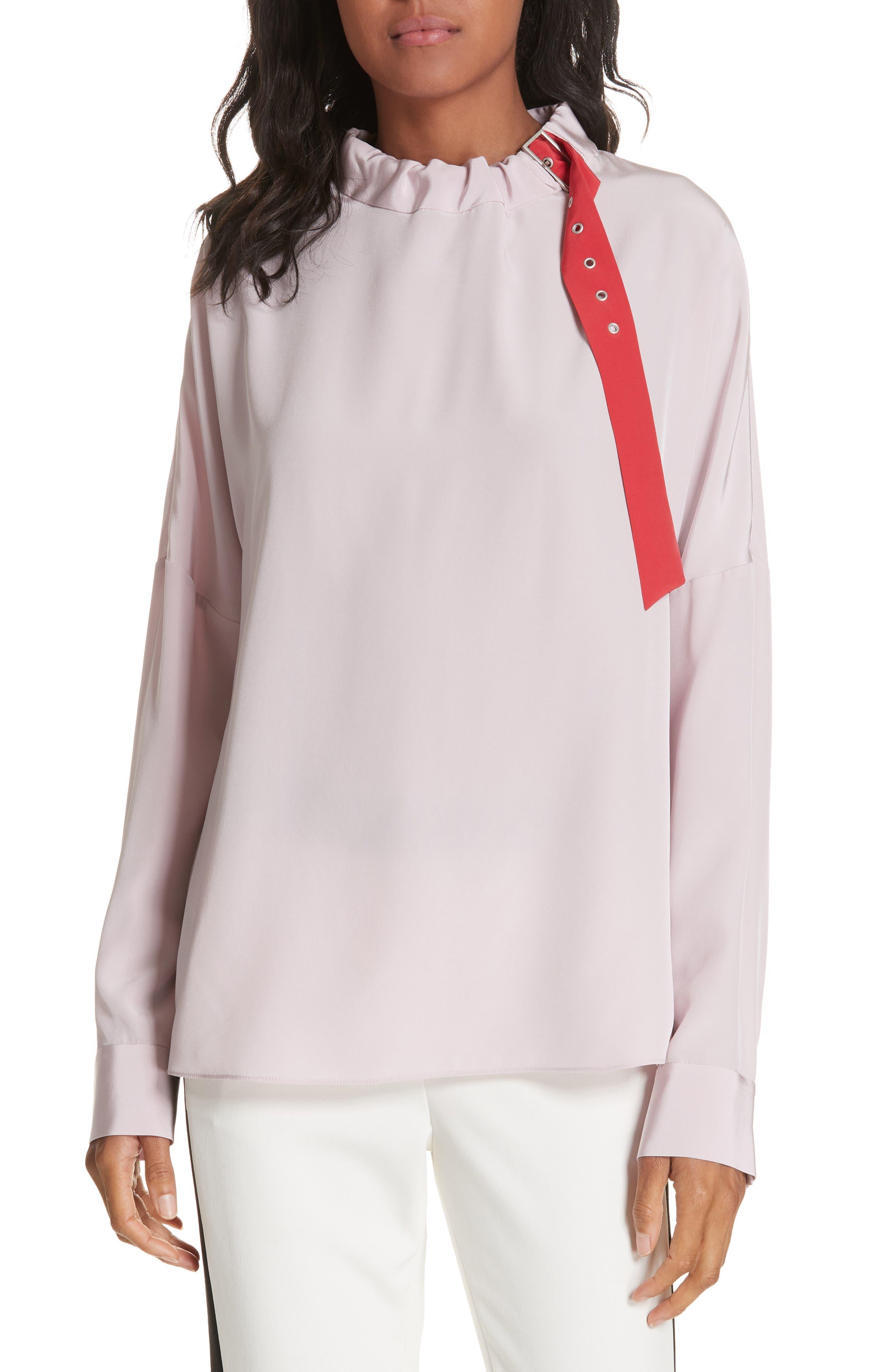 Tibi Silk Buckle Blouse, Pink