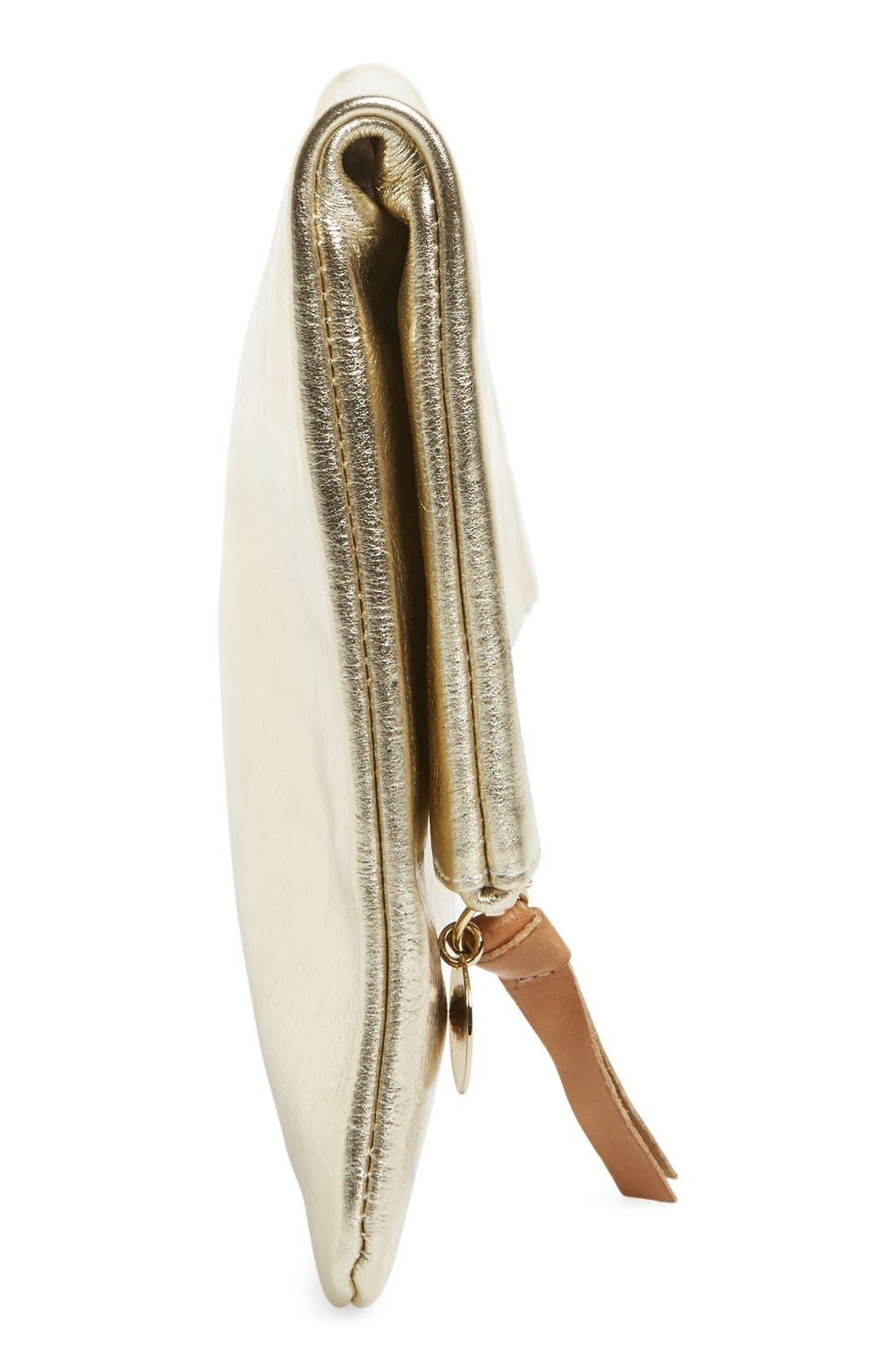 'Maison' Metallic Leather Foldover Clutch,                             Alternate thumbnail 3, color,                             710