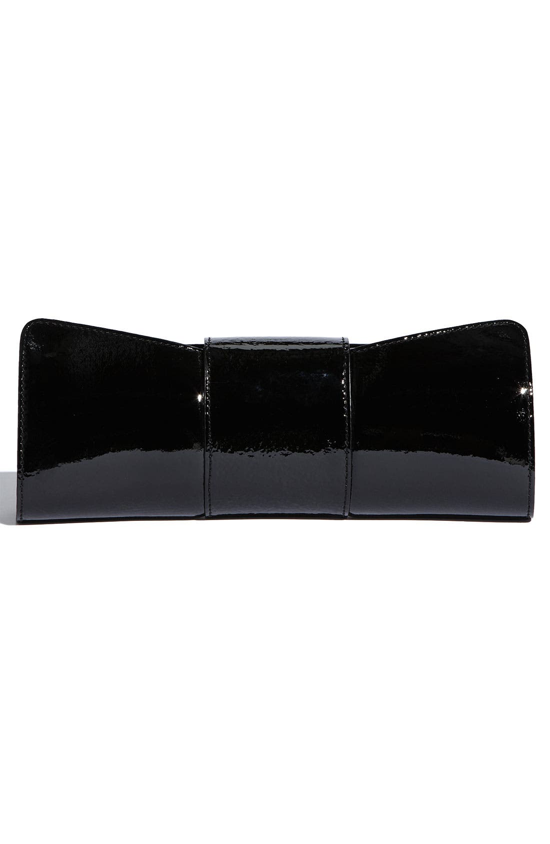 KATE SPADE NEW YORK,                             'sparkle spade bow' clutch,                             Alternate thumbnail 3, color,                             001