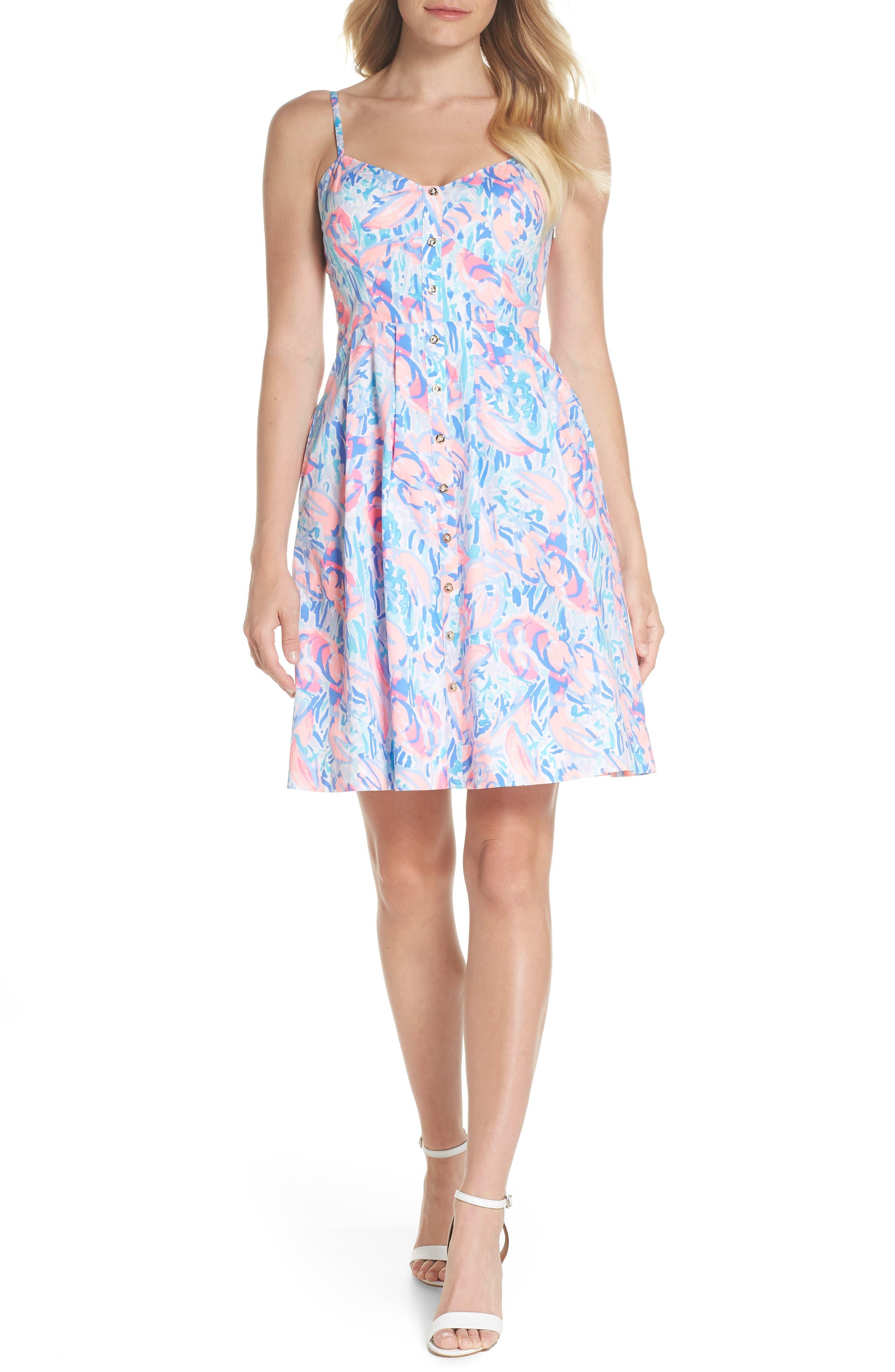 Easton Fit & Flare Dress,                             Alternate thumbnail 5, color,                             695