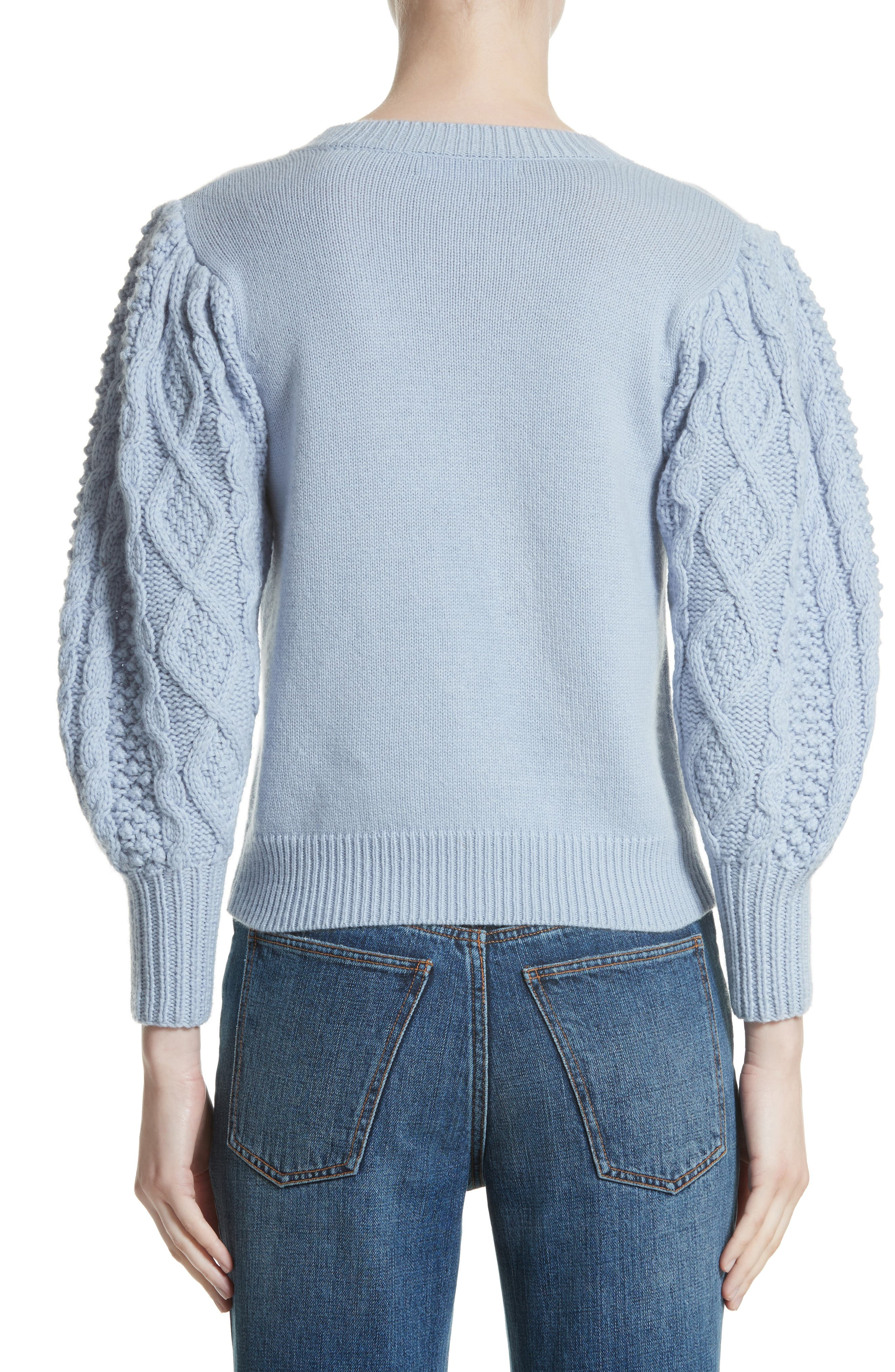 Puff Sleeve Wool & Cashmere Sweater,                             Alternate thumbnail 2, color,                             400