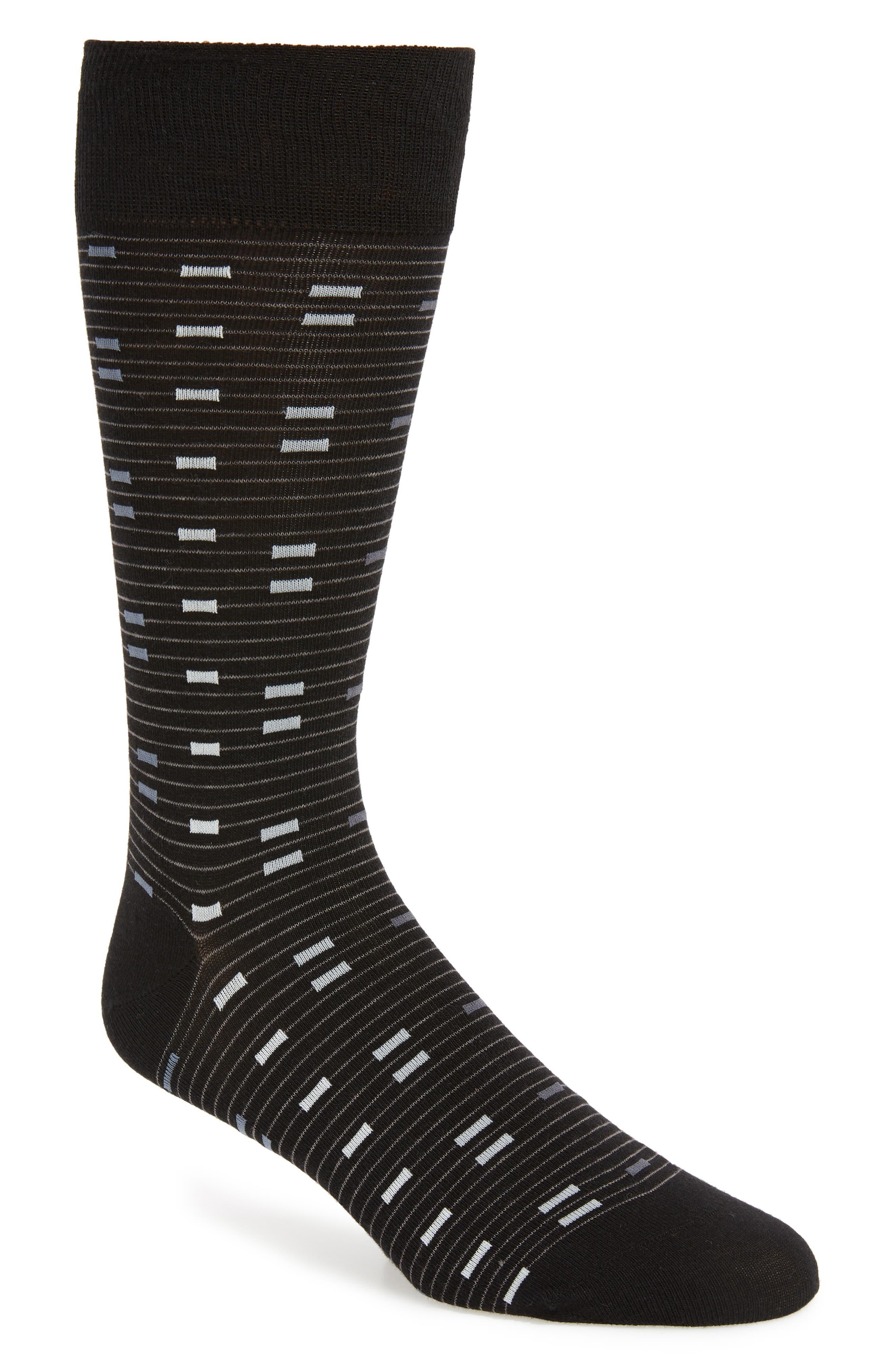 Vintage Men's Socks History-1900 to 1960s Mens Cole Haan Digital Stripe Socks Size One Size - Black $4.98 AT vintagedancer.com
