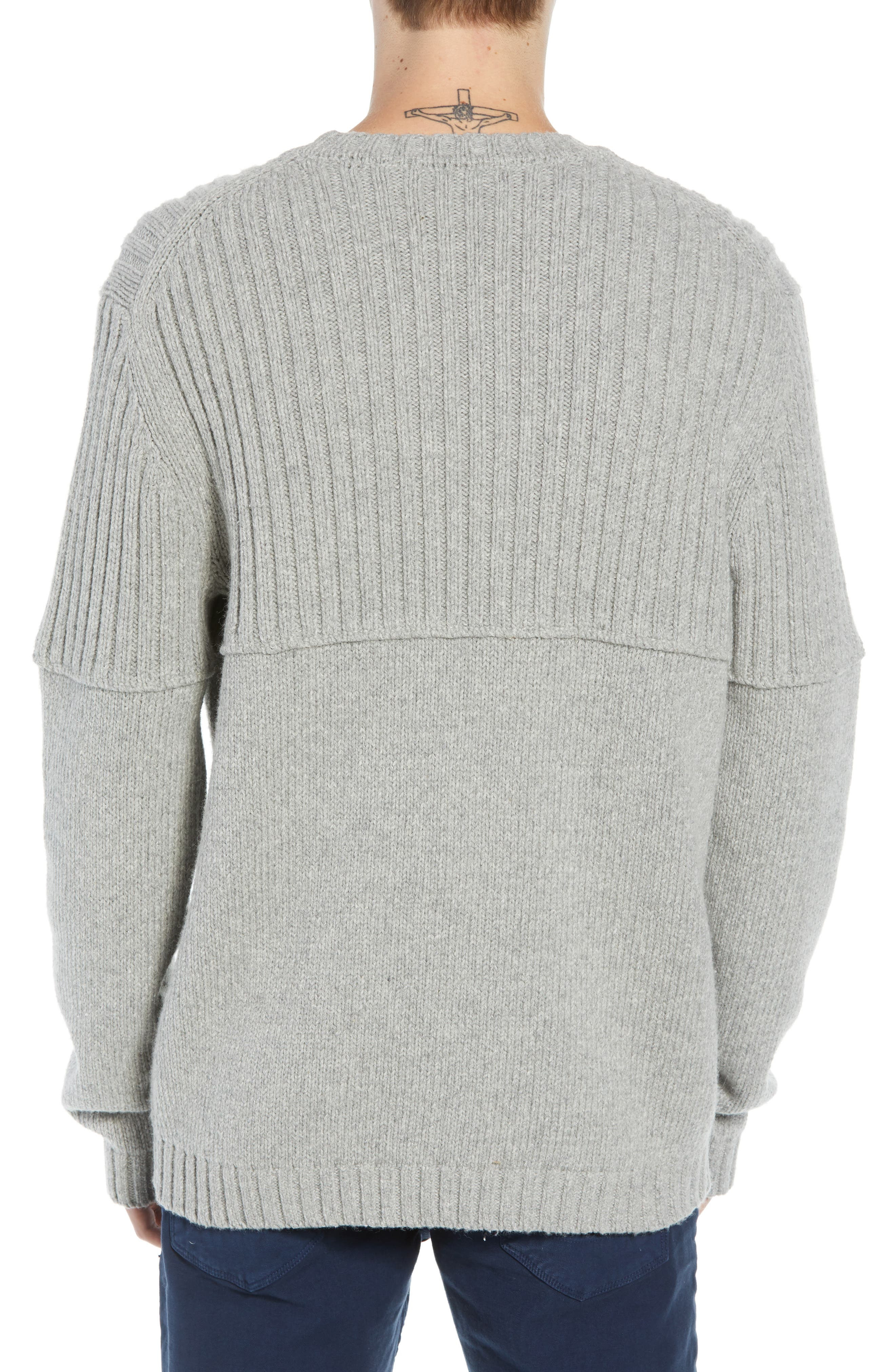 Split Linked Sweater,                             Alternate thumbnail 2, color,                             GREY MELANGE