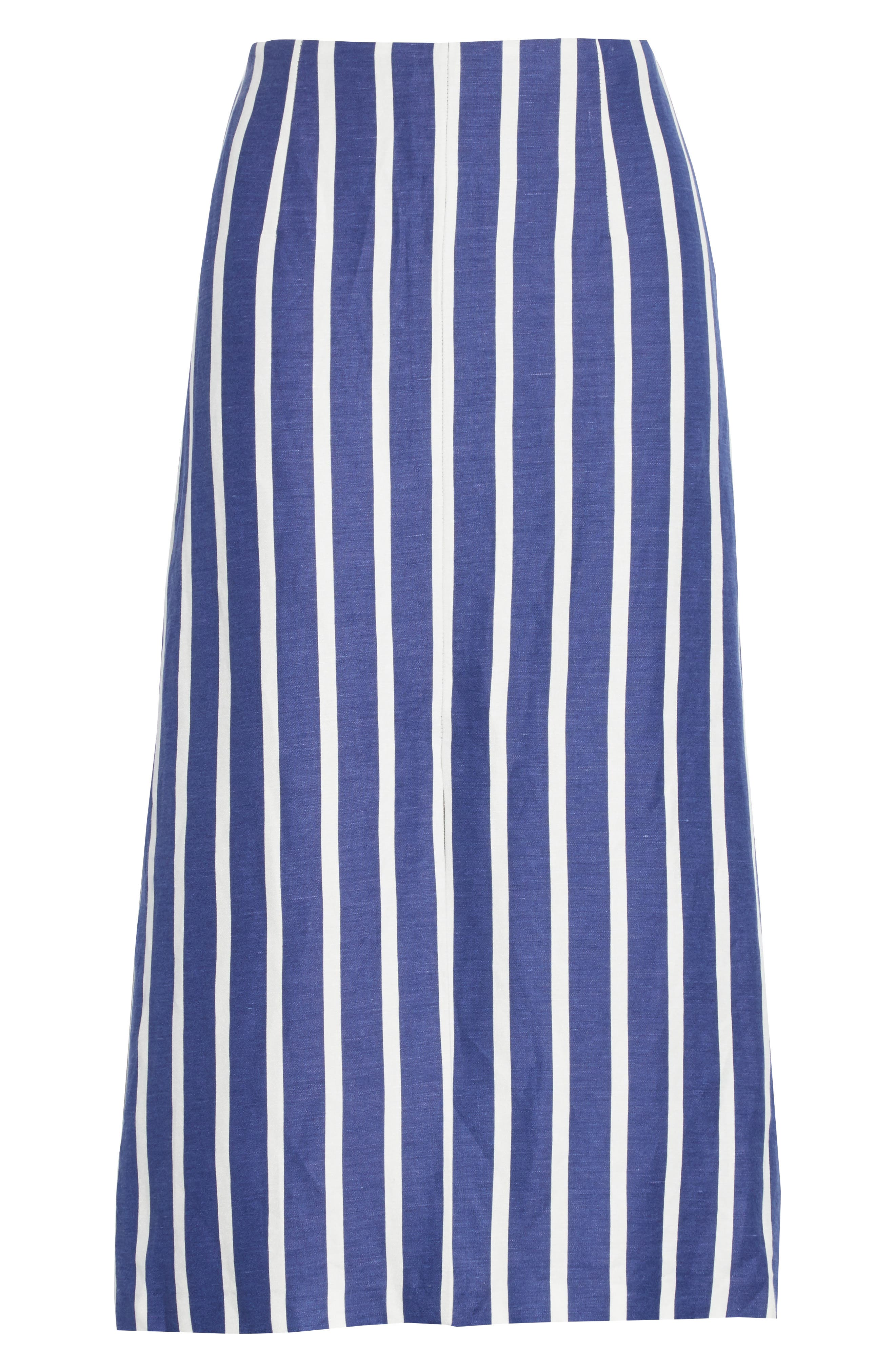 Sabrena Stripe Front Slit Linen Blend Midi Skirt,                             Alternate thumbnail 6, color,                             475