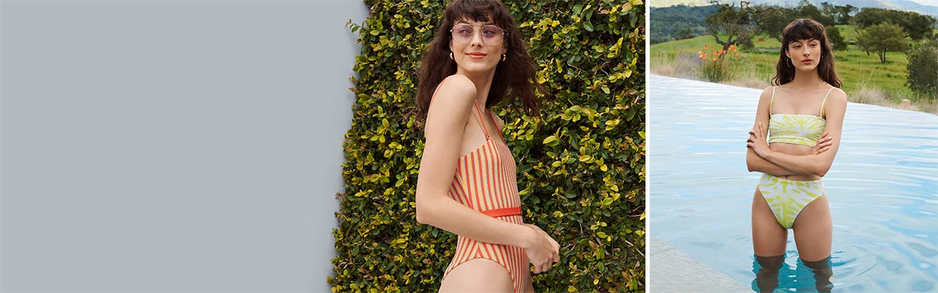 Make your own rays: bold, vibrant women's swimsuits.