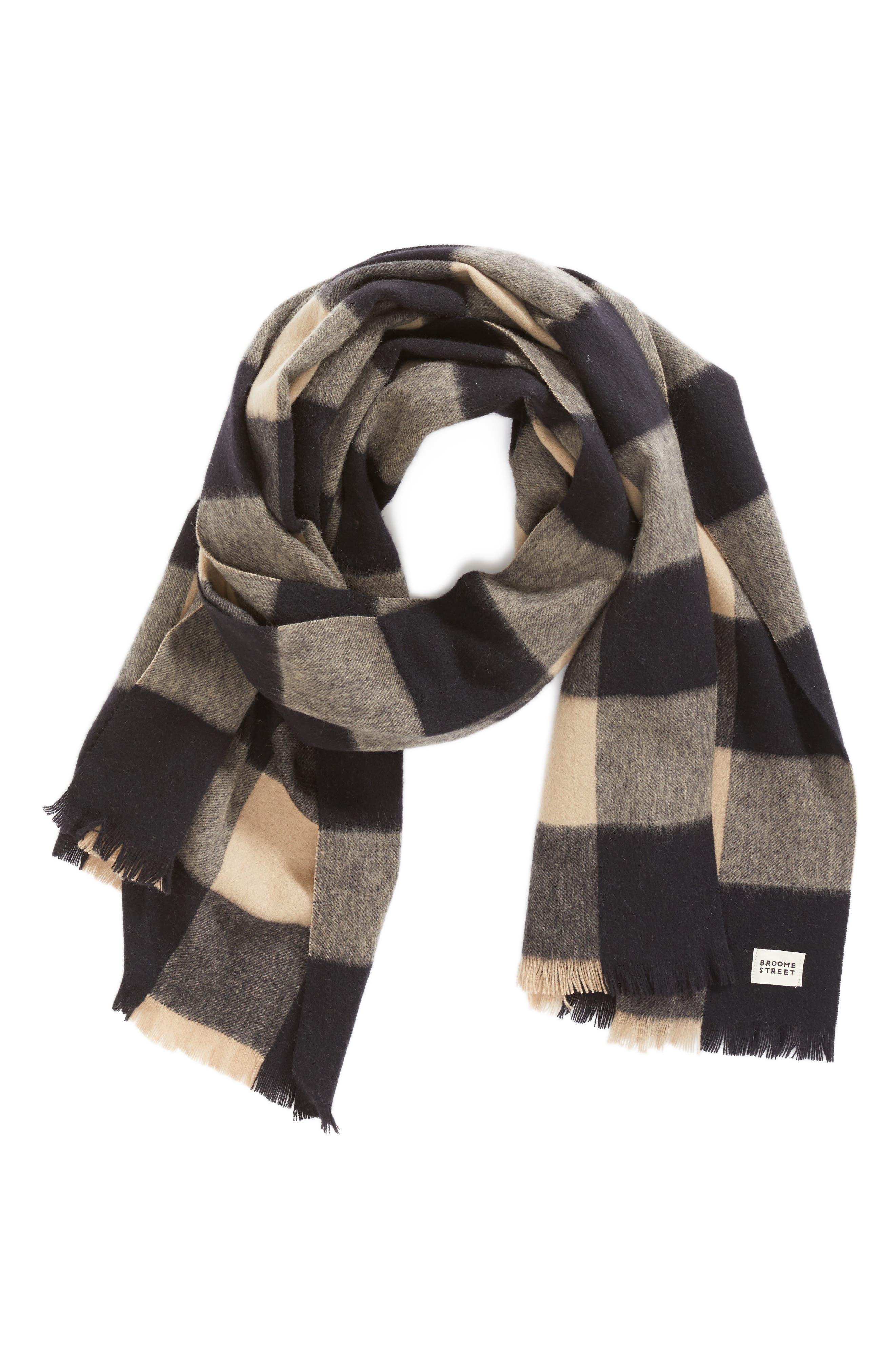 mega check wool scarf,                             Alternate thumbnail 3, color,