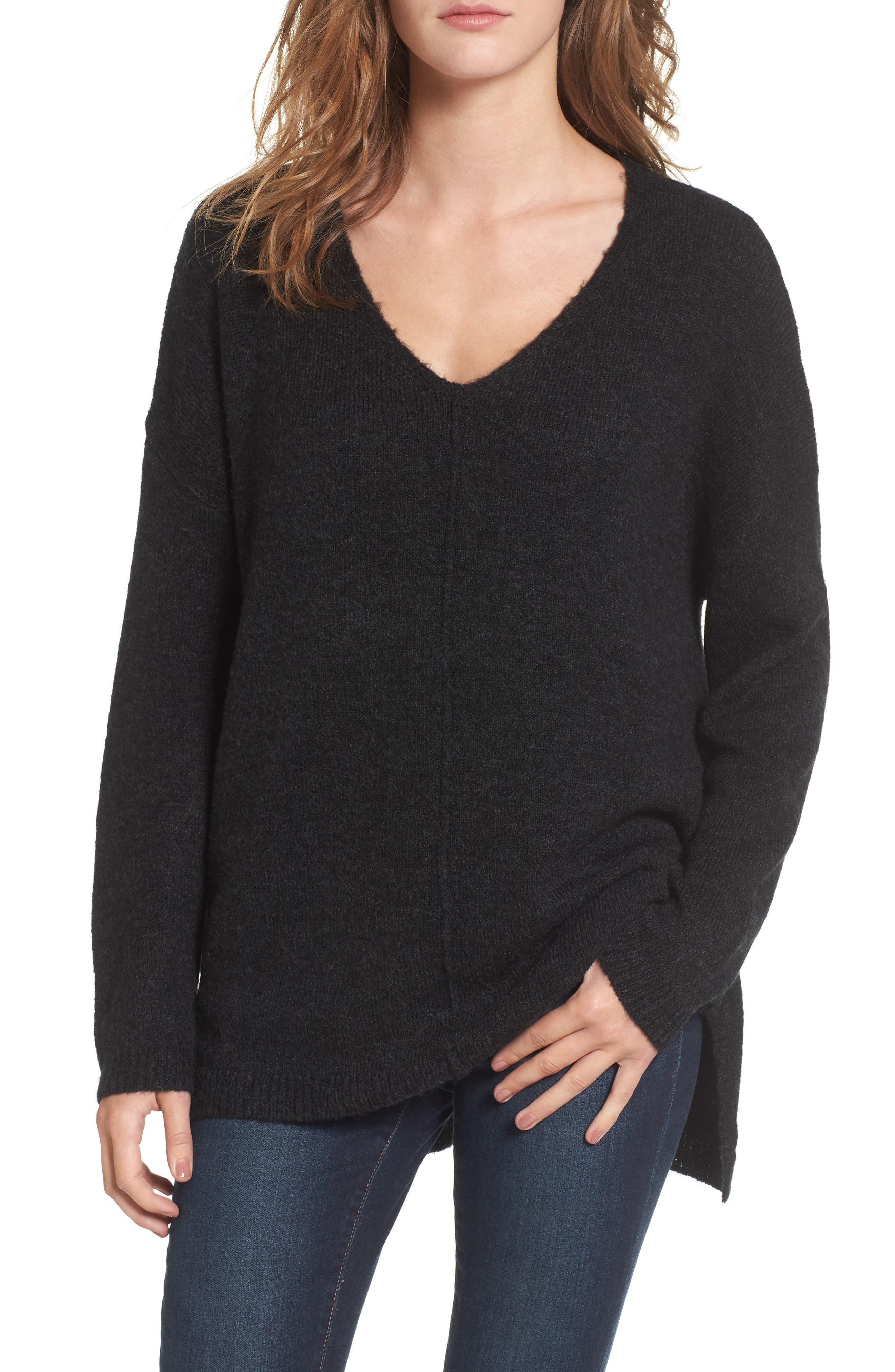Exposed Seam Tunic Sweater,                             Main thumbnail 1, color,                             001