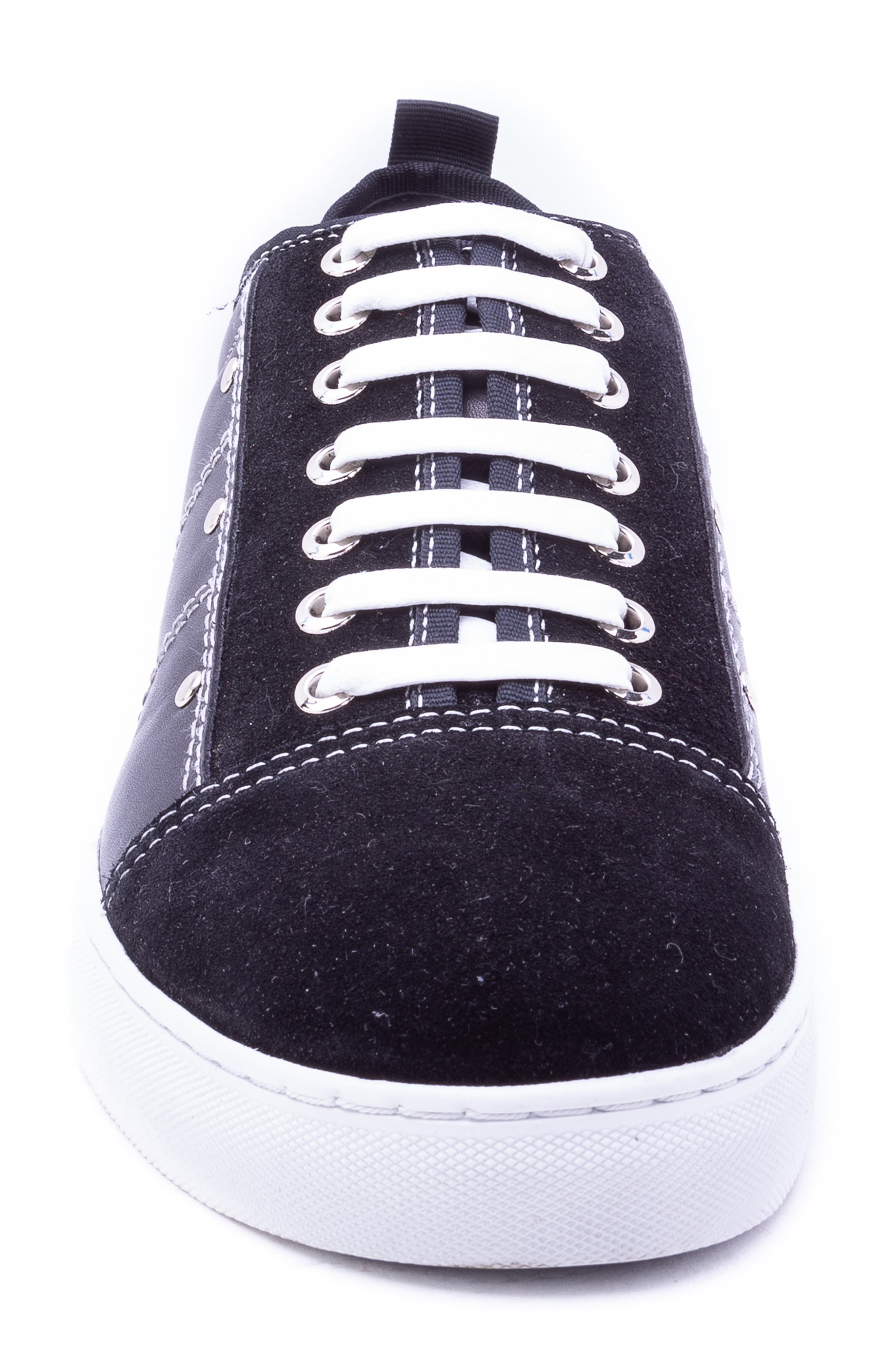 Severn Studded Low Top Sneaker,                             Alternate thumbnail 4, color,                             BLACK SUEDE/ LEATHER