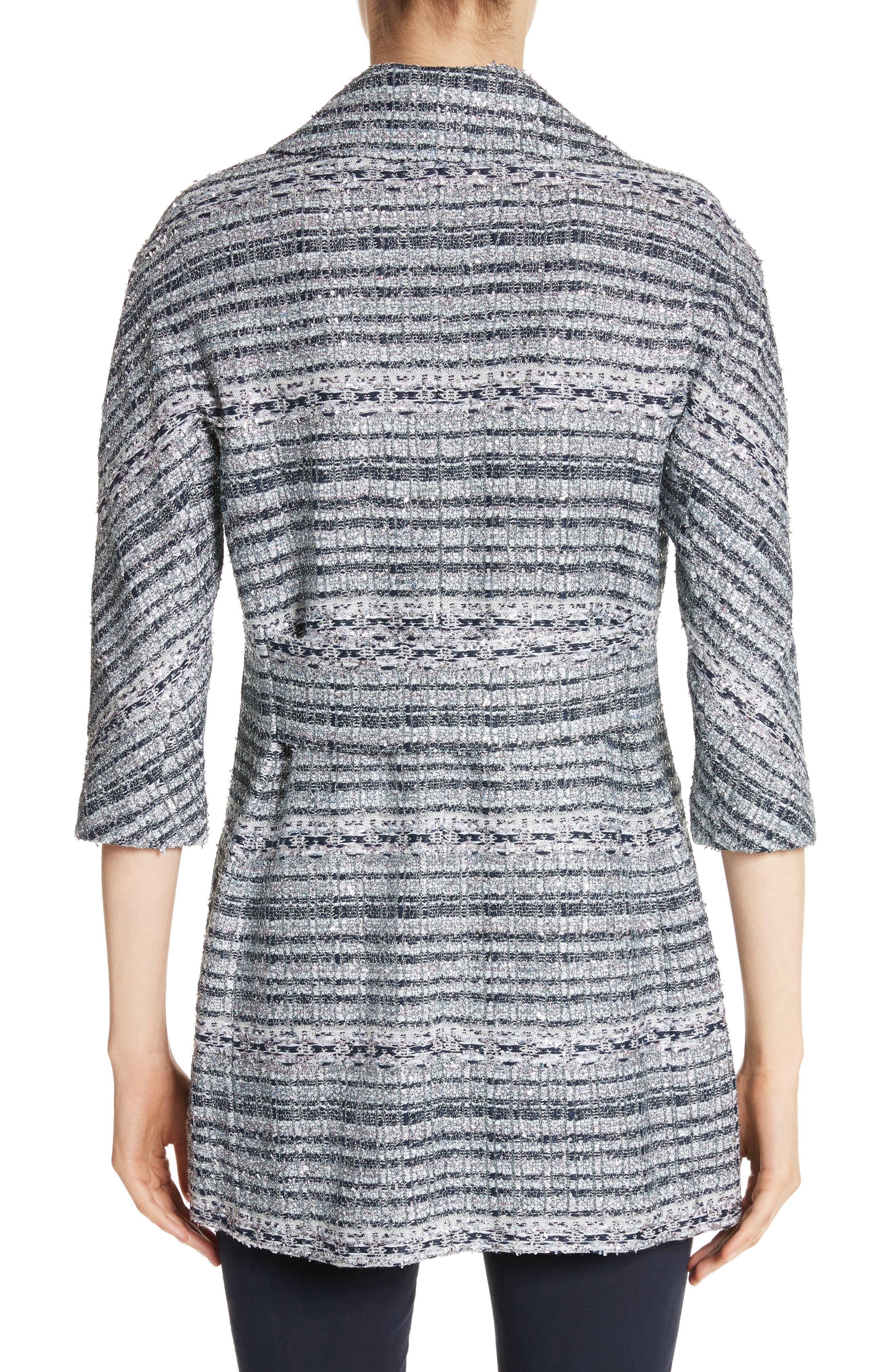 Lacquered Metallic Ribbon Knit Jacket,                             Alternate thumbnail 2, color,