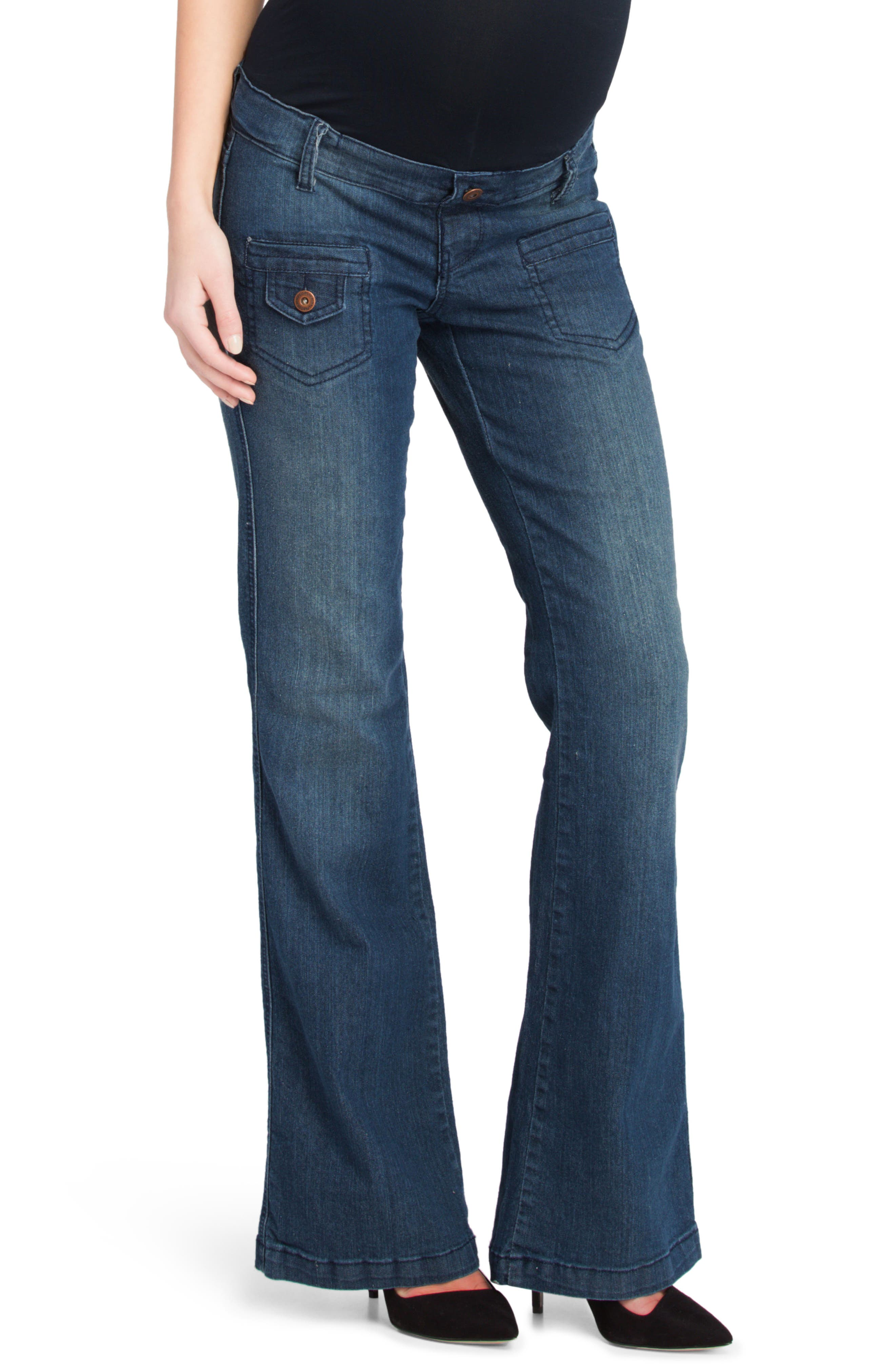 Flare Maternity Stretch Jeans,                             Alternate thumbnail 3, color,                             401