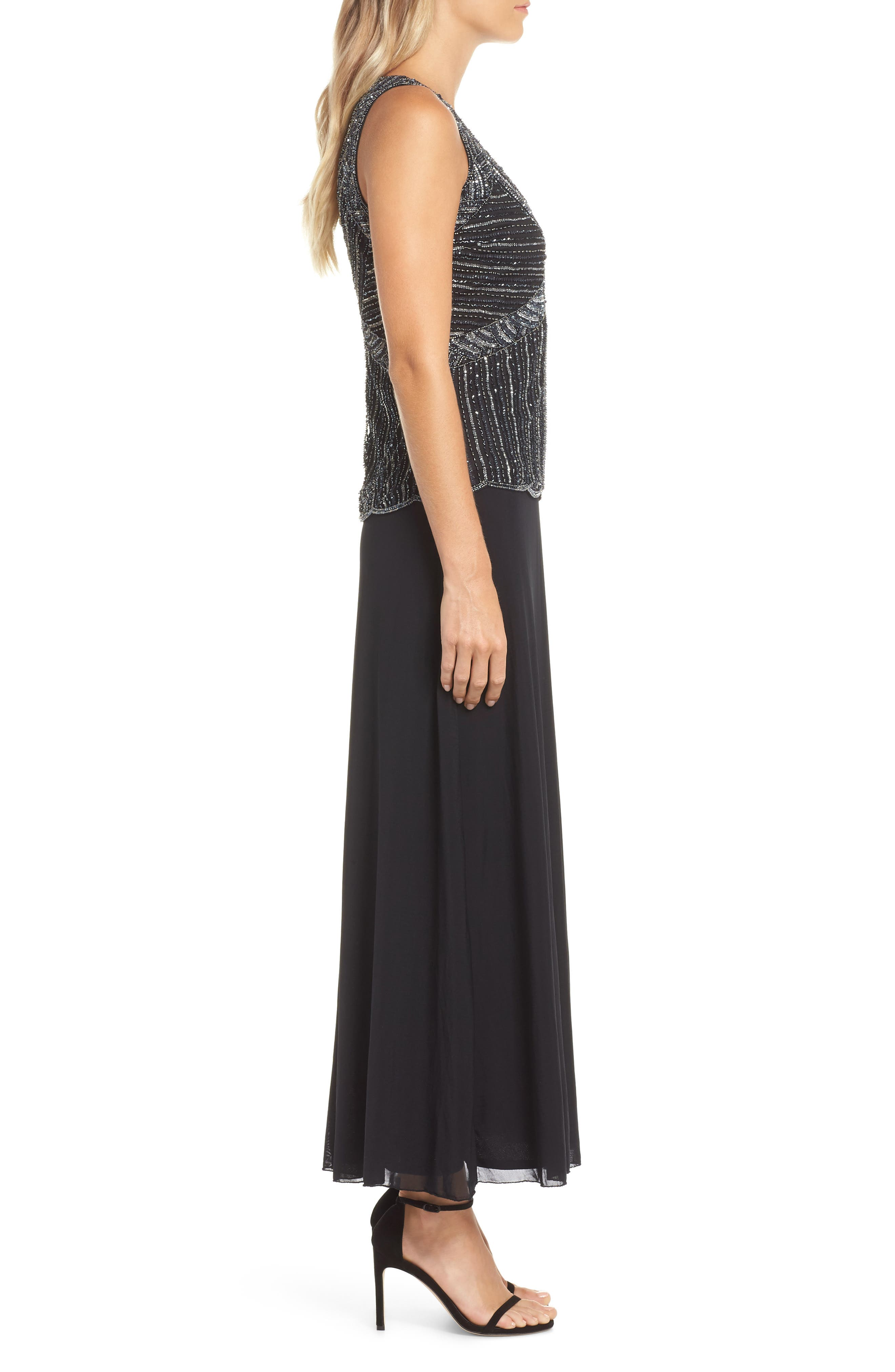 Beaded Mock Two-Piece Gown,                             Alternate thumbnail 3, color,                             BLACK