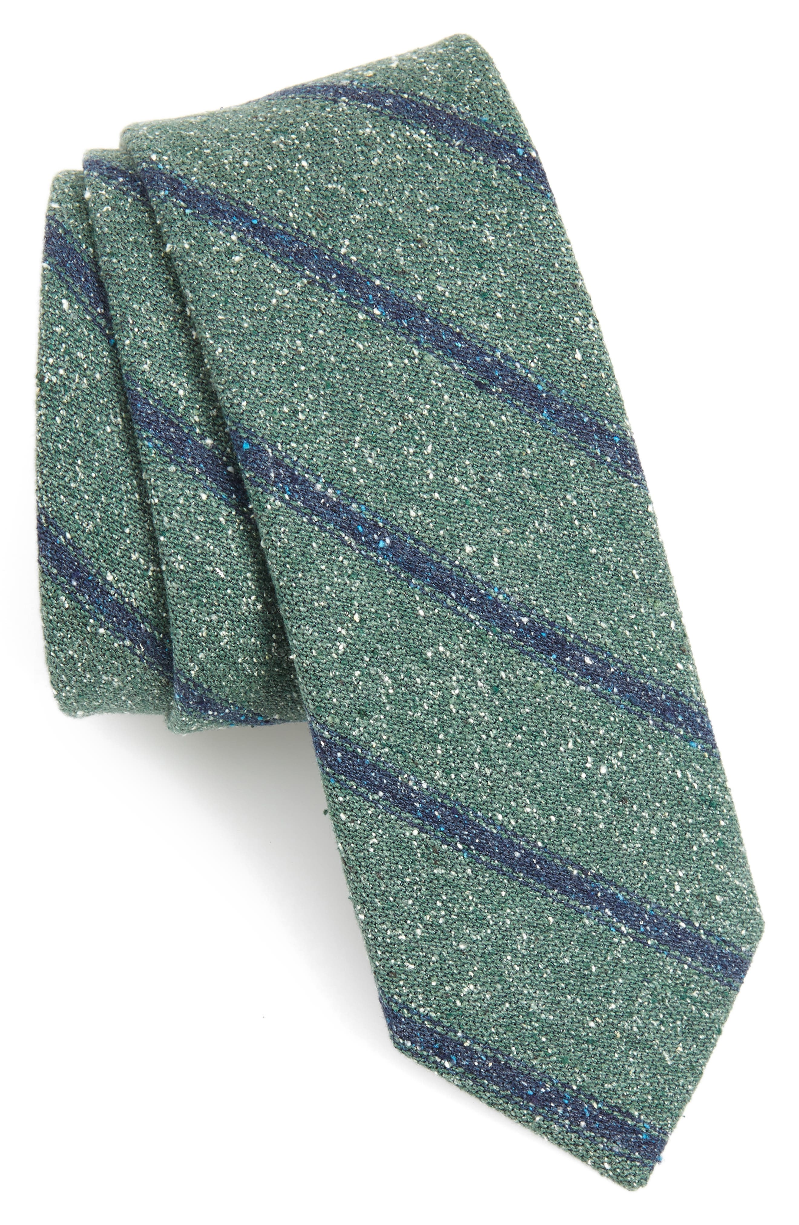 Stripe Silk Tie,                             Main thumbnail 1, color,                             HUNTER GREEN