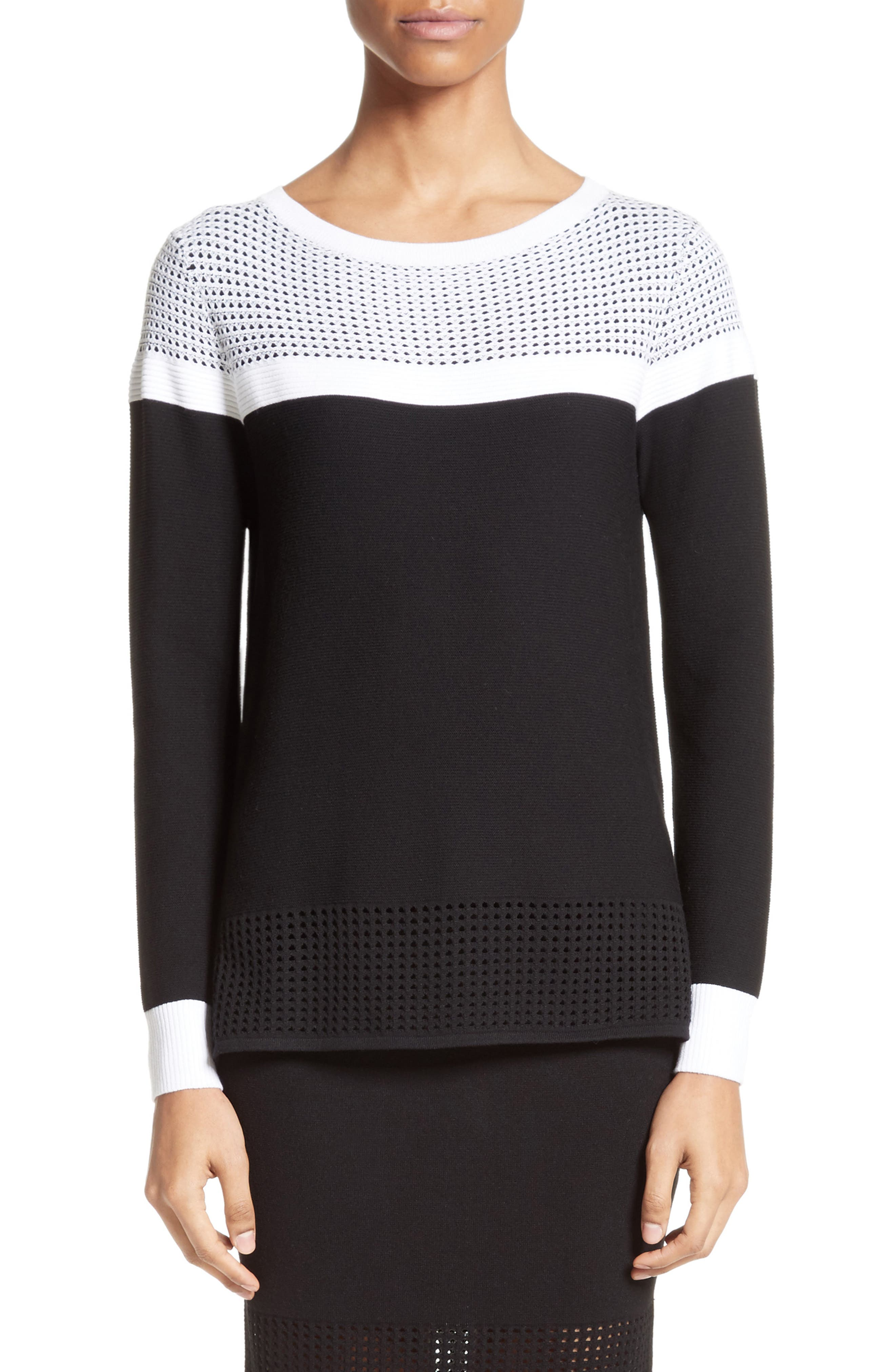 Technical Mesh Stitch Sweater,                             Main thumbnail 1, color,                             001