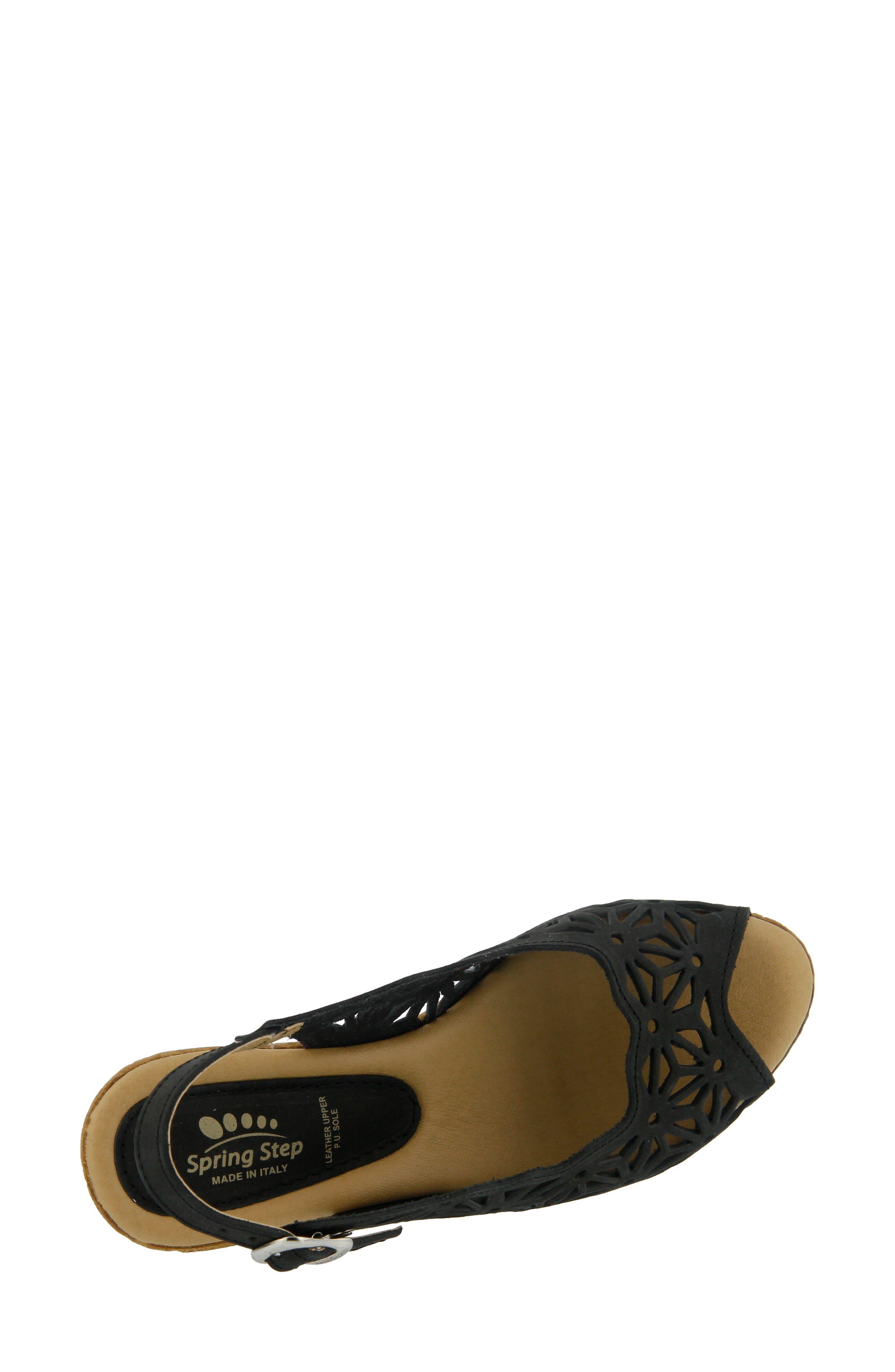 SPRING STEP,                             Abigail Platform Wedge Sandal,                             Alternate thumbnail 3, color,                             BLACK LEATHER