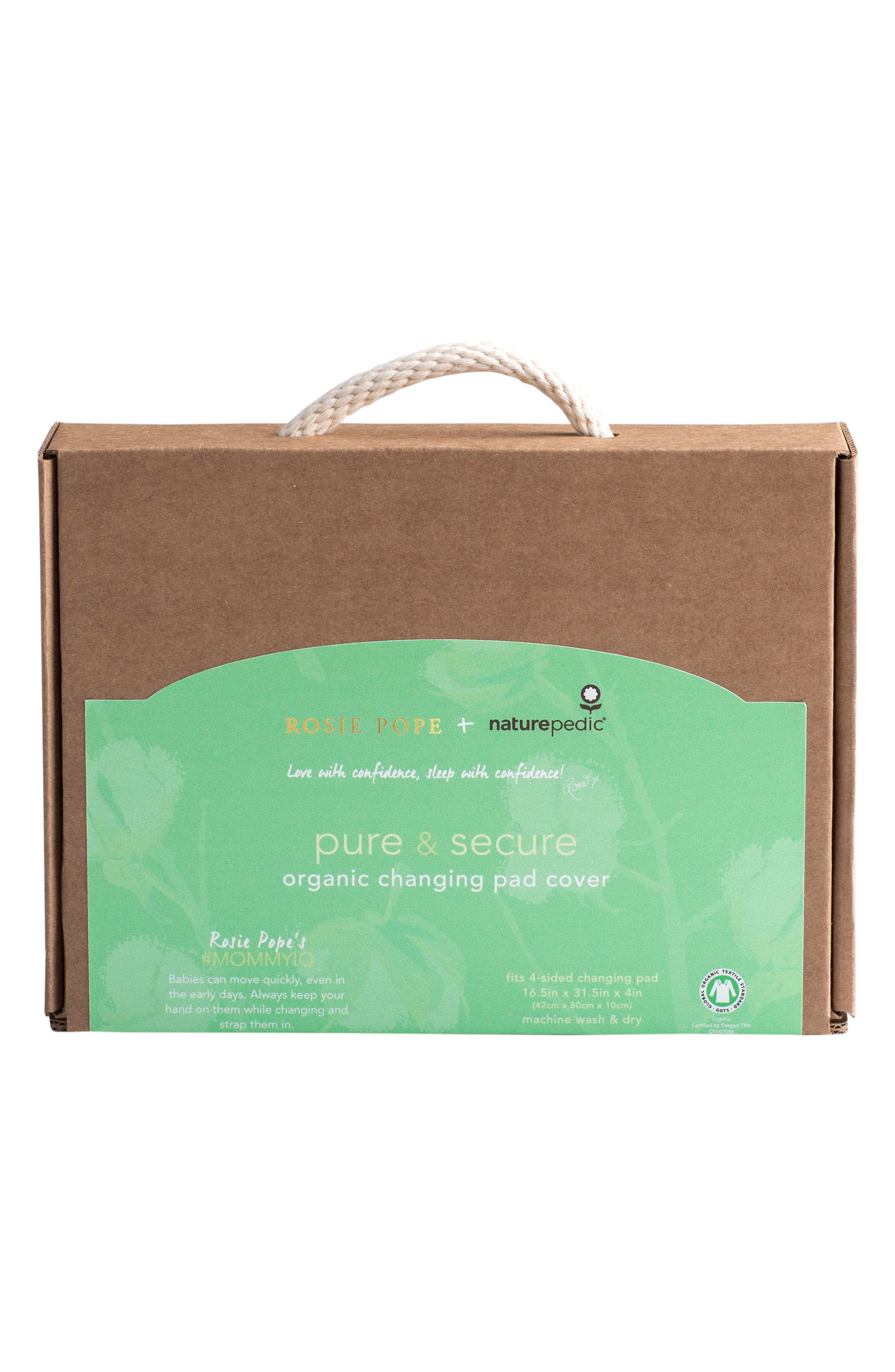 x Rosie Pope Pure & Secure Changing Pad Cover,                             Alternate thumbnail 2, color,                             NATURAL