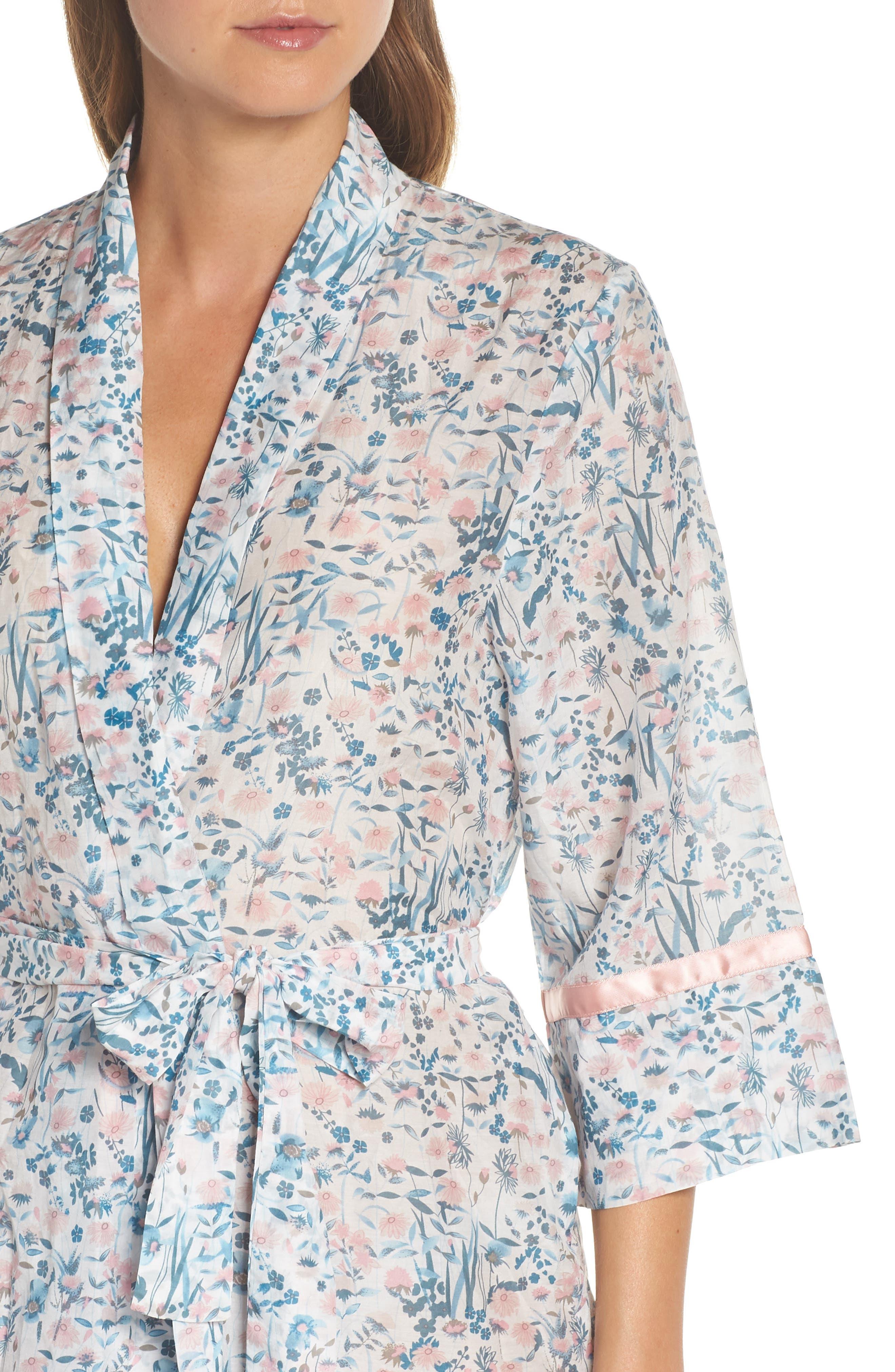 Ellie Floral Robe,                             Alternate thumbnail 4, color,                             BLUE