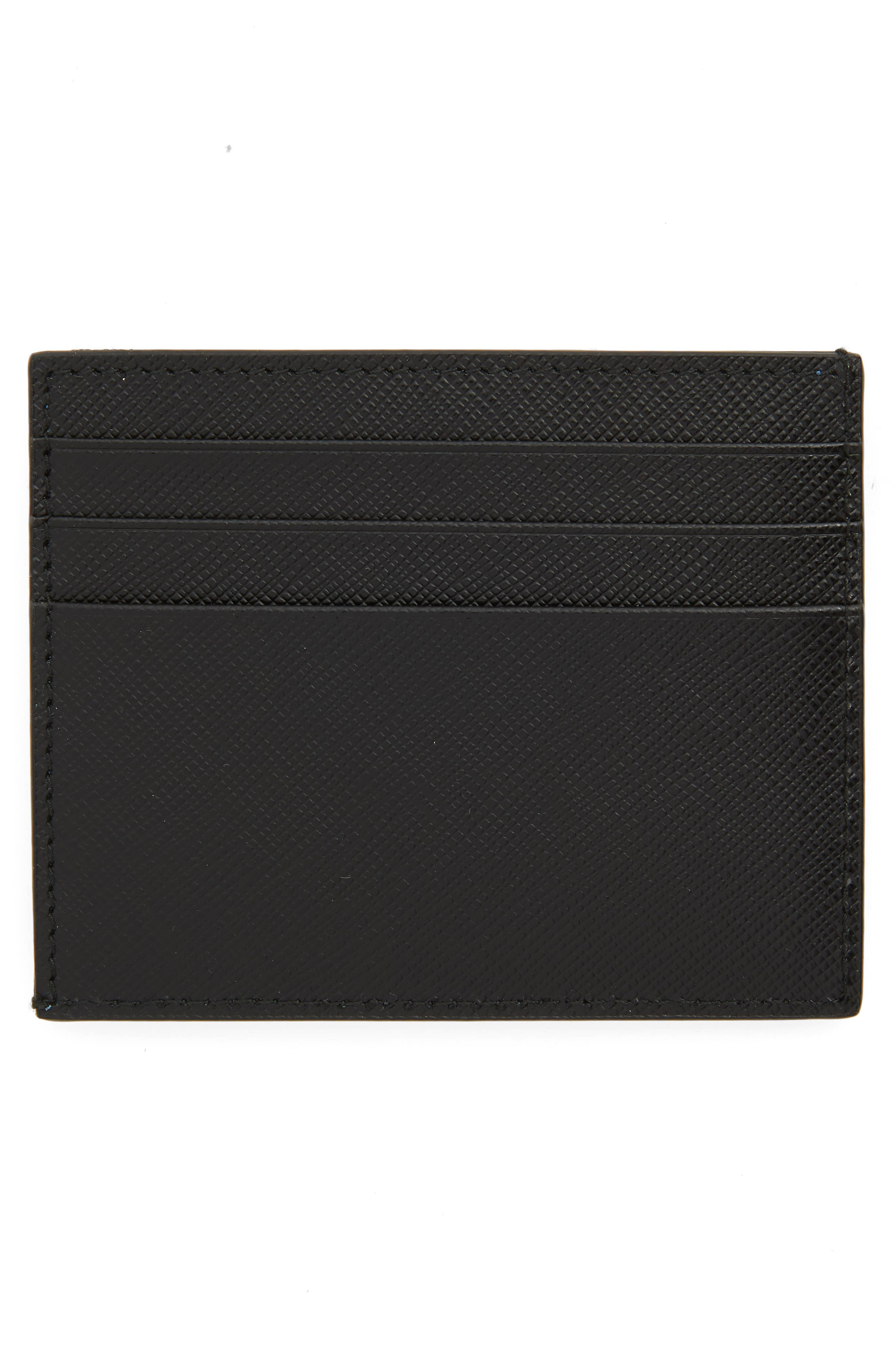 PRADA,                             Saffiano Leather Patch Card Case,                             Alternate thumbnail 2, color,                             001