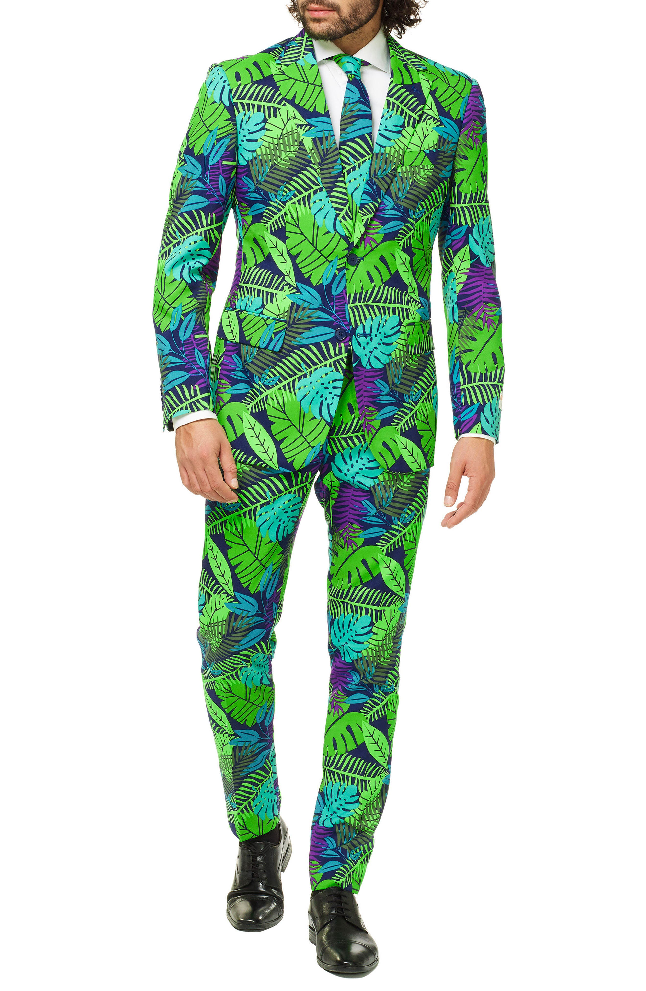 Juicy Jungle Trim Fit two-Piece Suit with Tie,                             Main thumbnail 1, color,                             MISCELLANEOUS