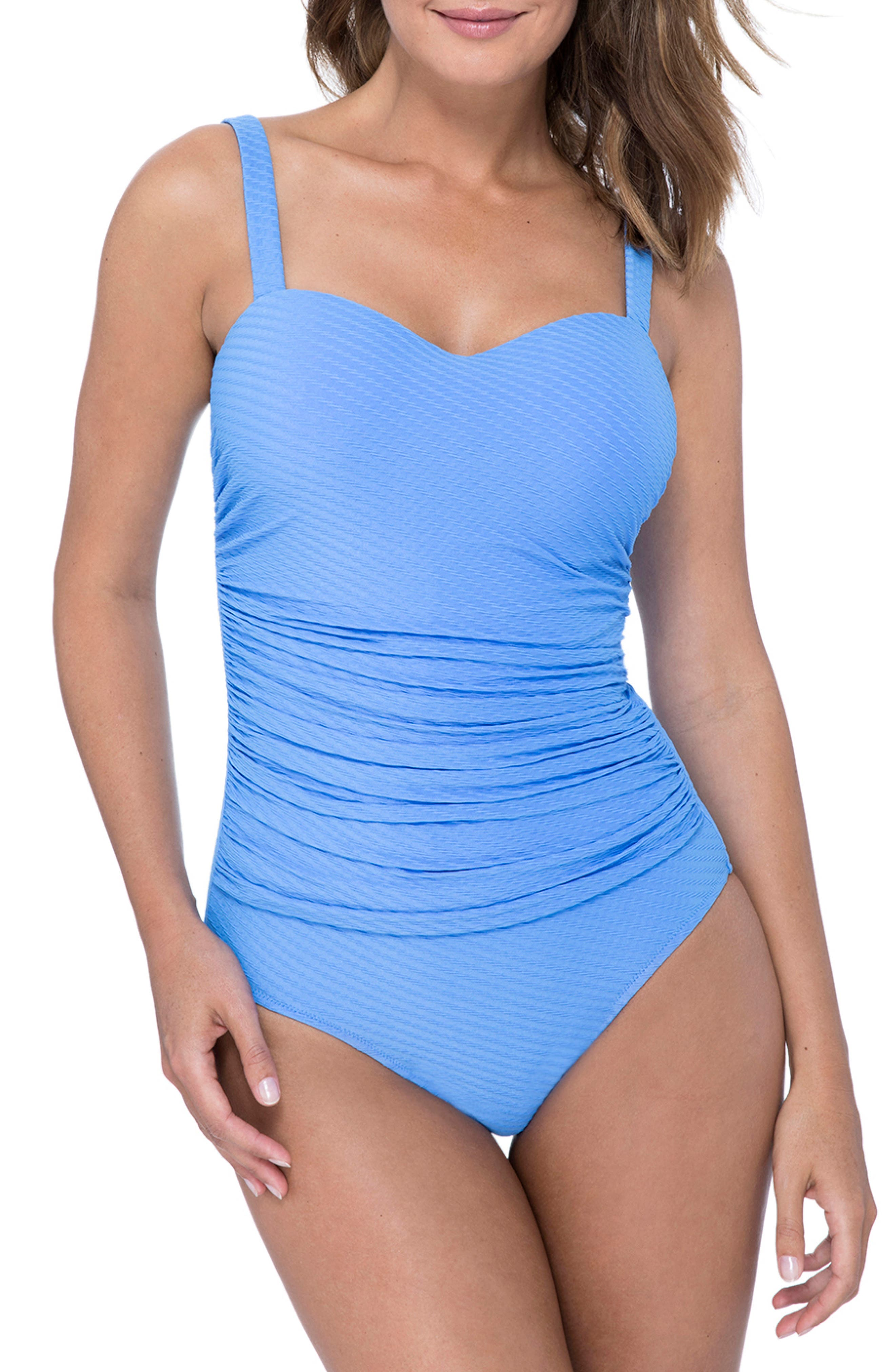 Profile By Gottex D-Cup Wide Strap One-Piece Swimsuit, Blue