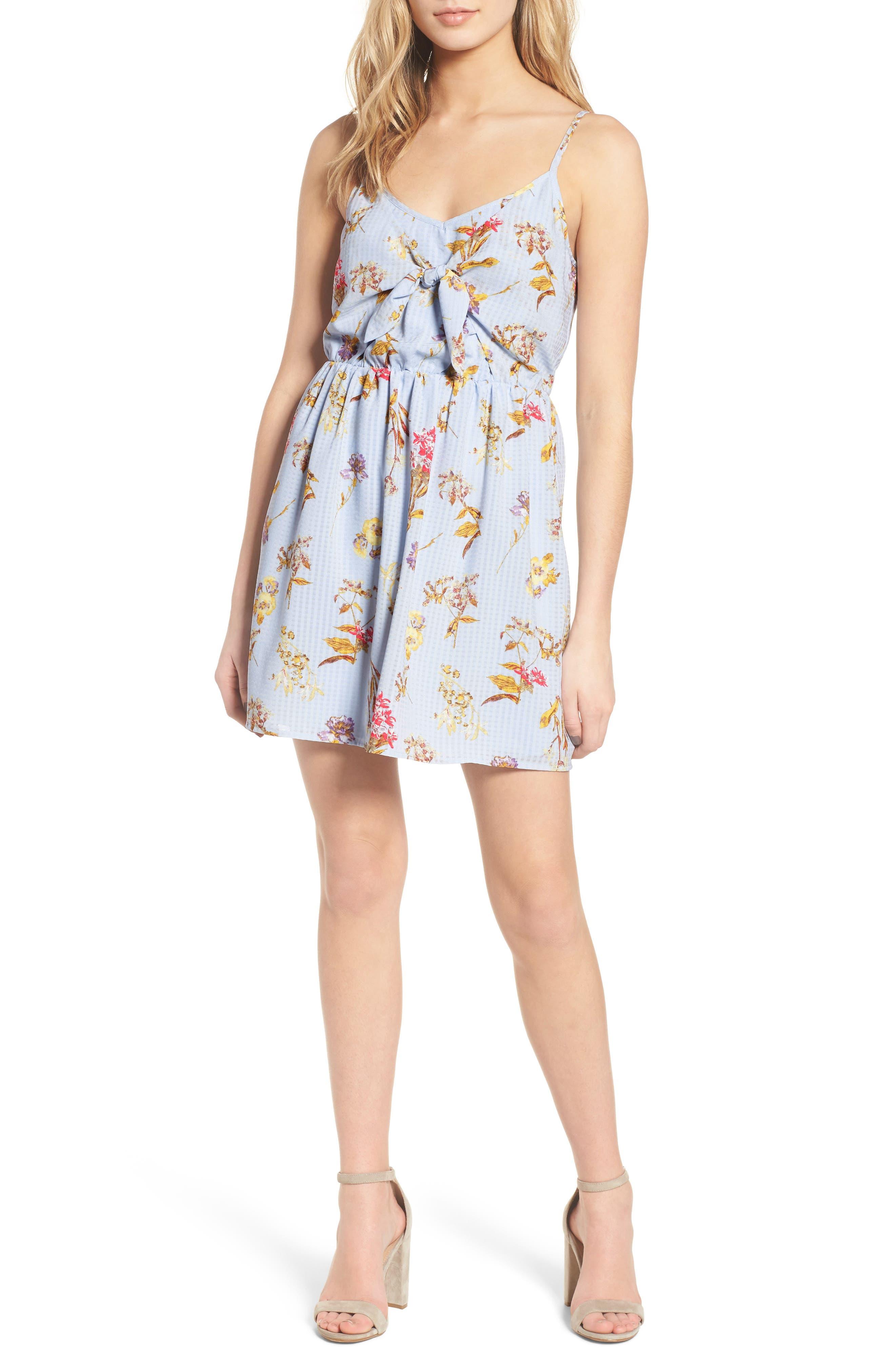 Floral Tie Front Dress,                             Main thumbnail 1, color,                             400