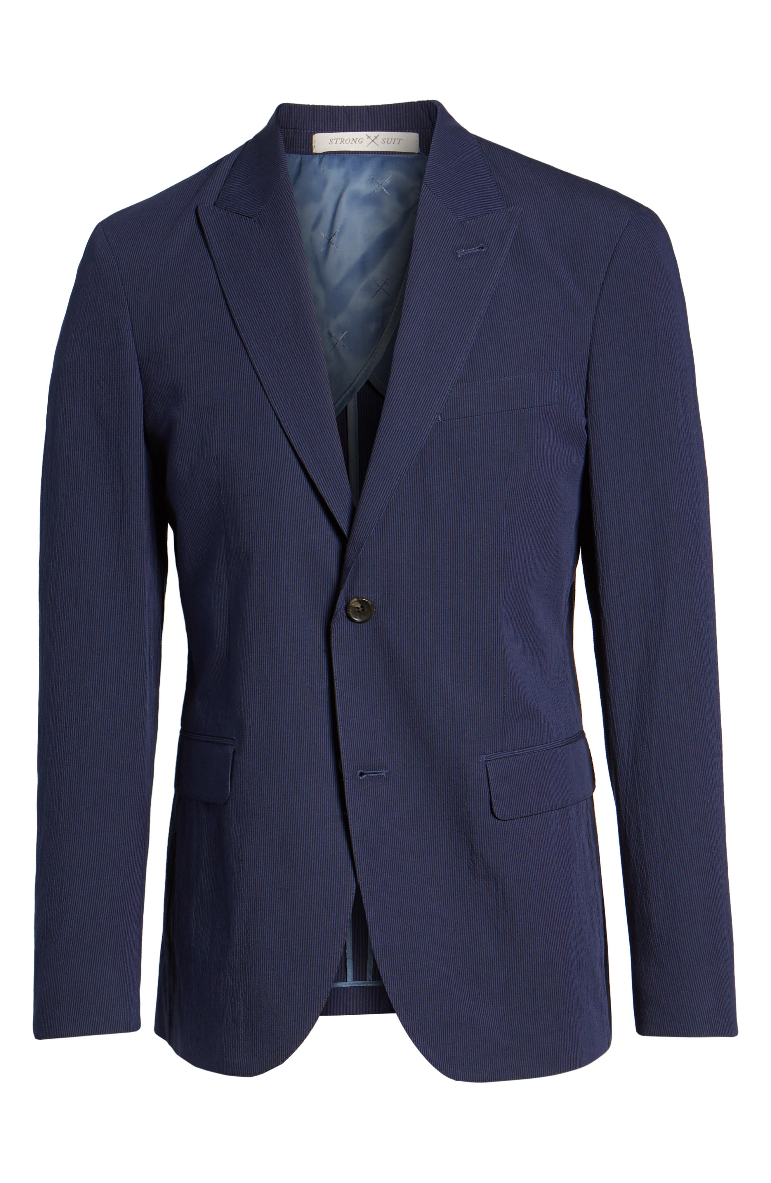 Volante Seersucker Suit Jacket,                             Alternate thumbnail 5, color,                             400