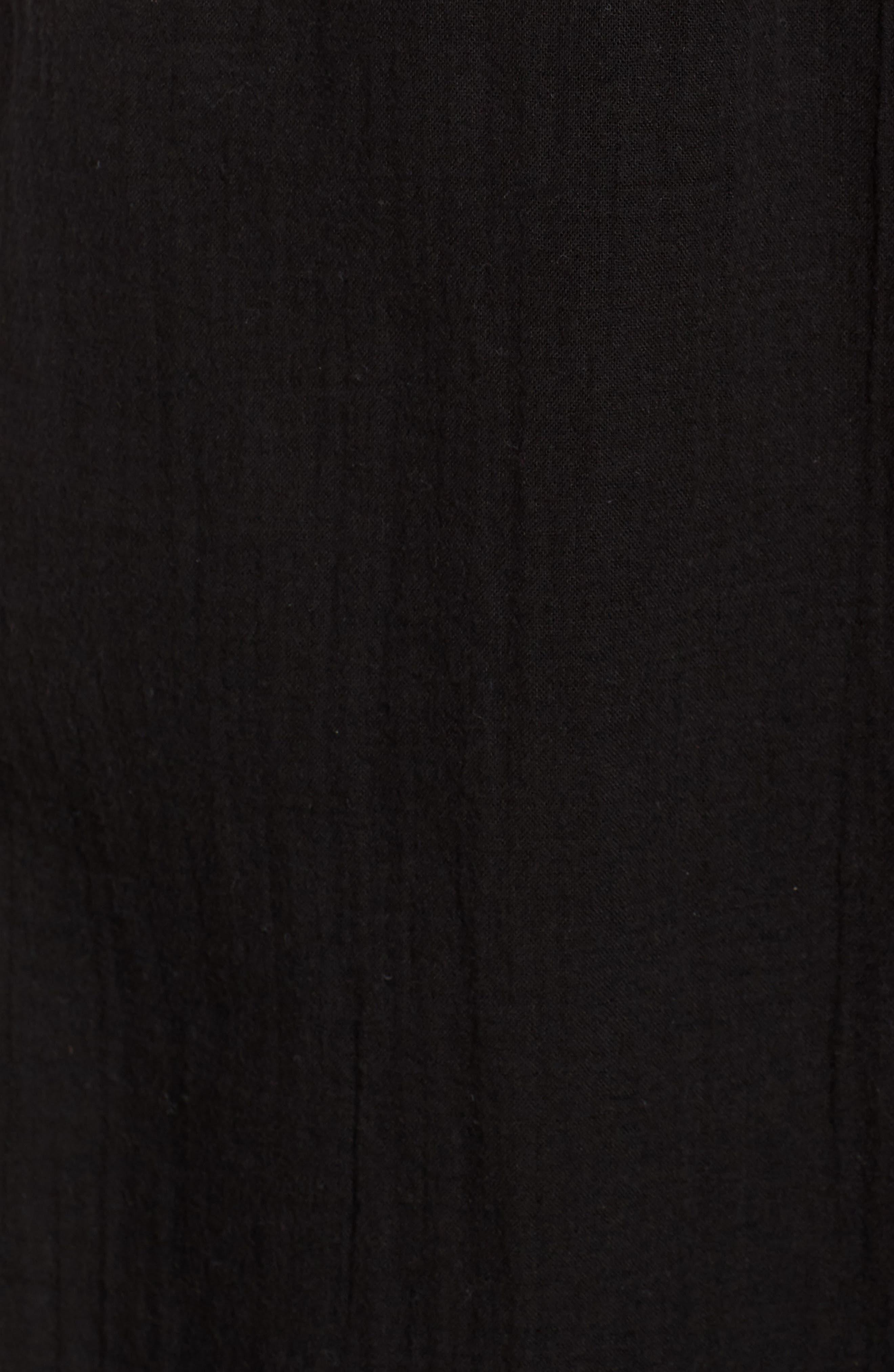 EILEEN FISHER,                             Drawstring Organic Cotton Midi Skirt,                             Alternate thumbnail 5, color,                             001