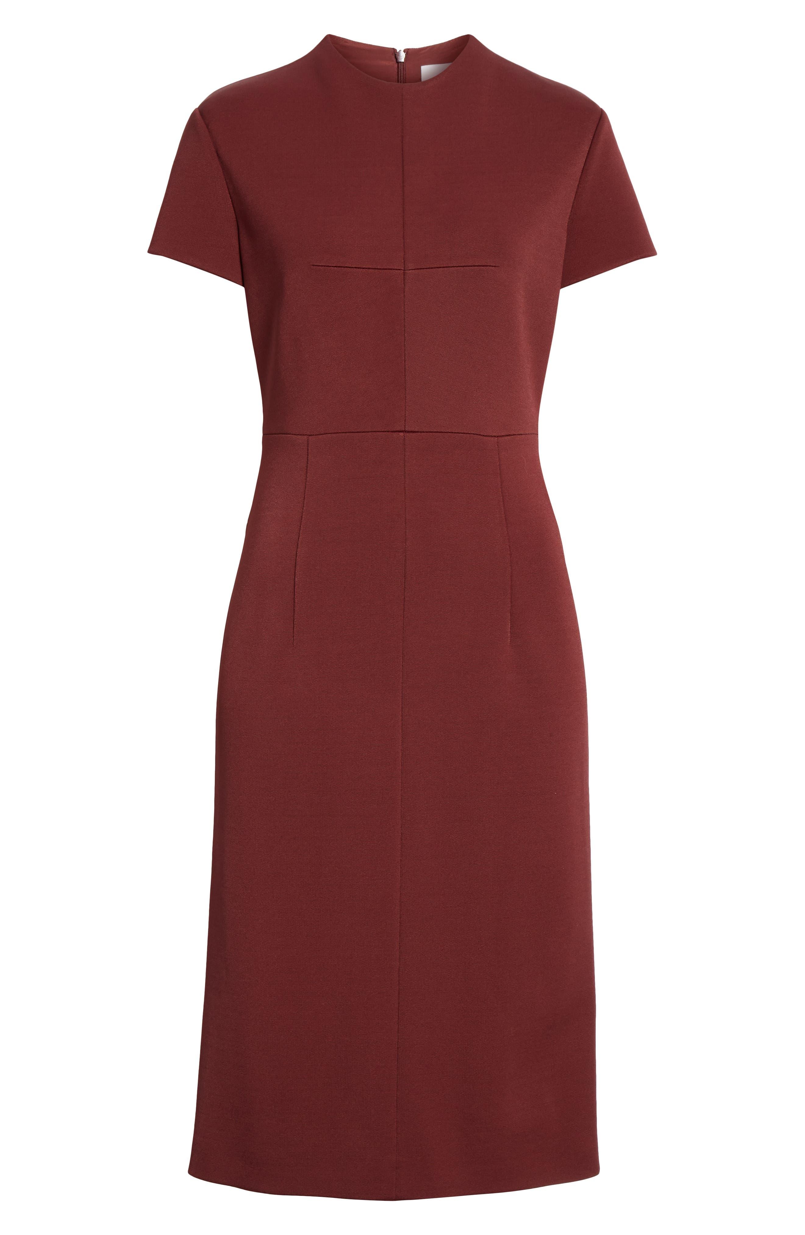 Demiara Sheath Dress,                             Alternate thumbnail 6, color,                             DARK AUBURN