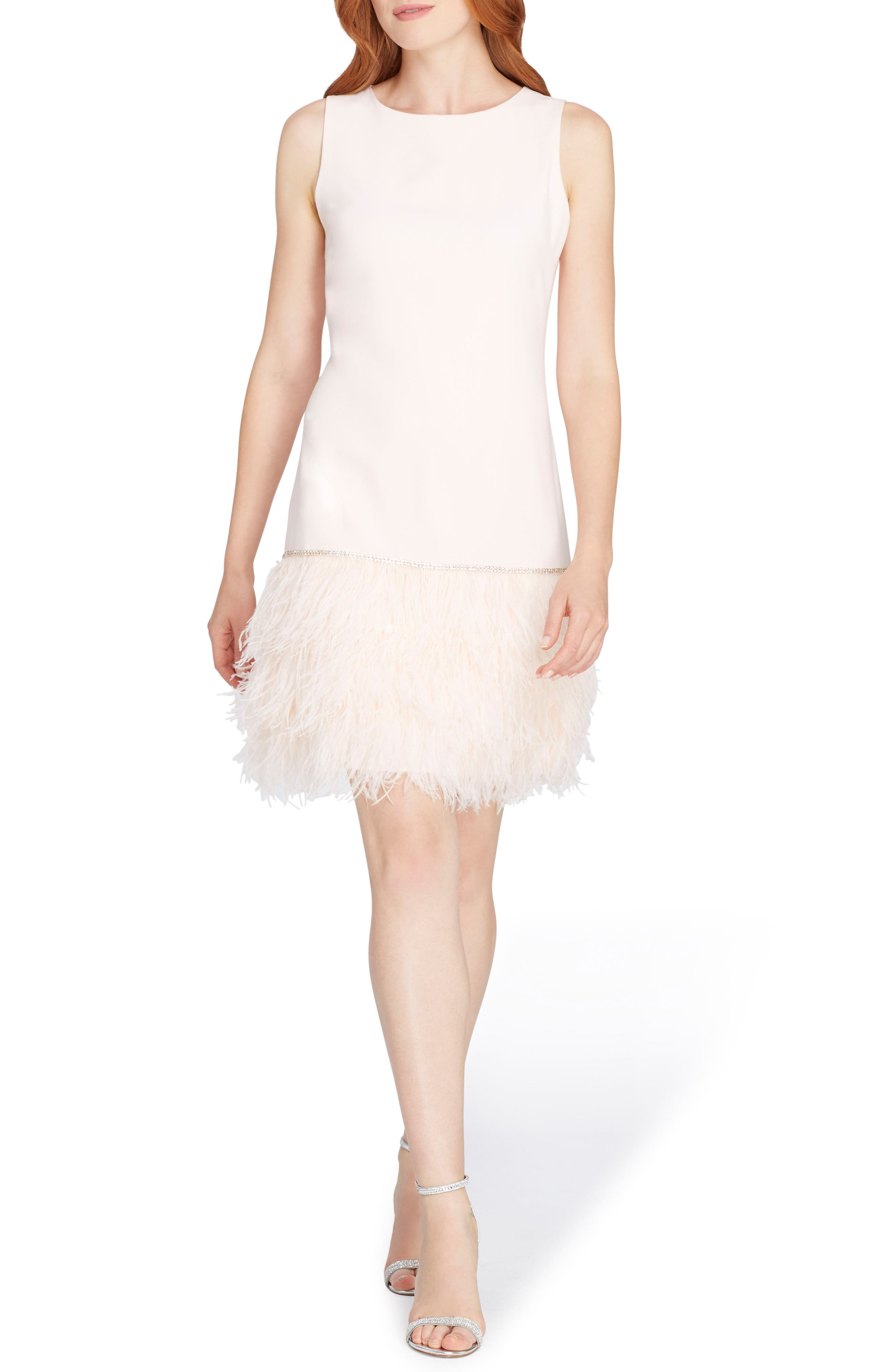 Feather Trim Sheath Dress,                             Main thumbnail 1, color,                             672