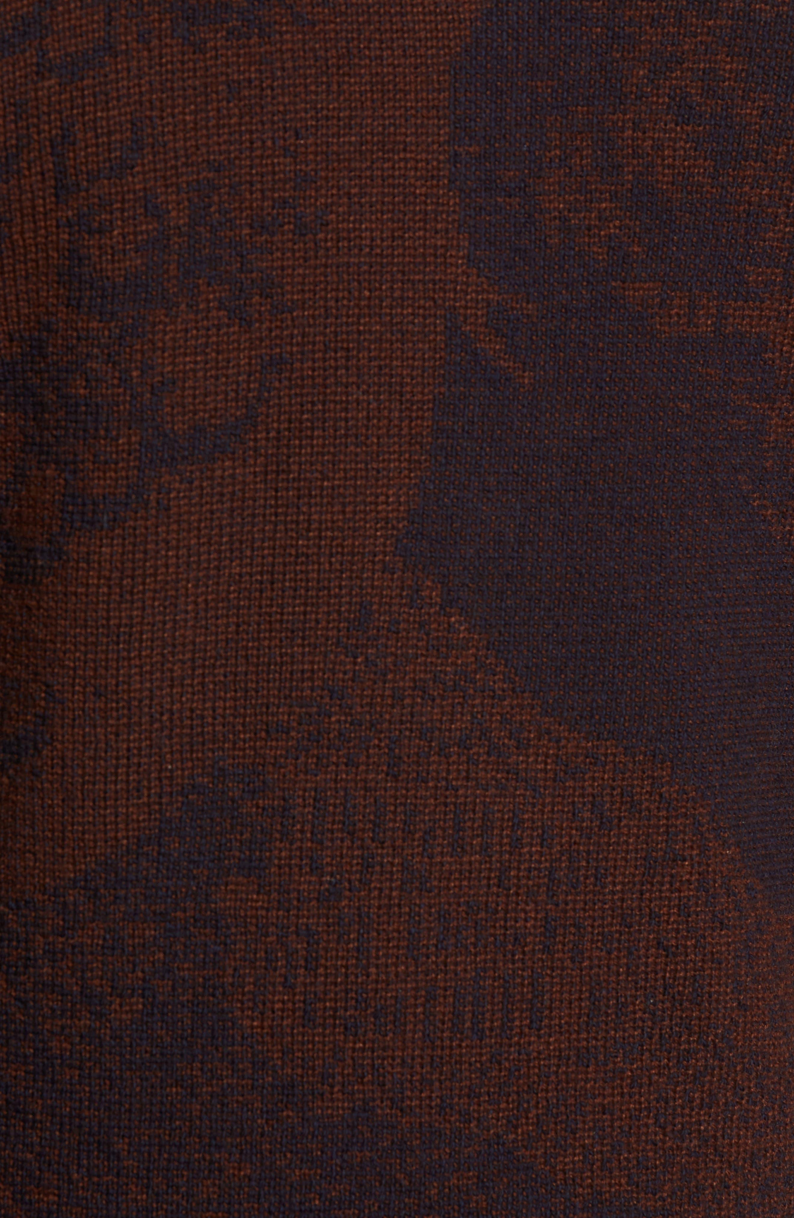 Peacock Shawl Collar Wool Blend Cardigan,                             Alternate thumbnail 5, color,                             NAVY/ RUST