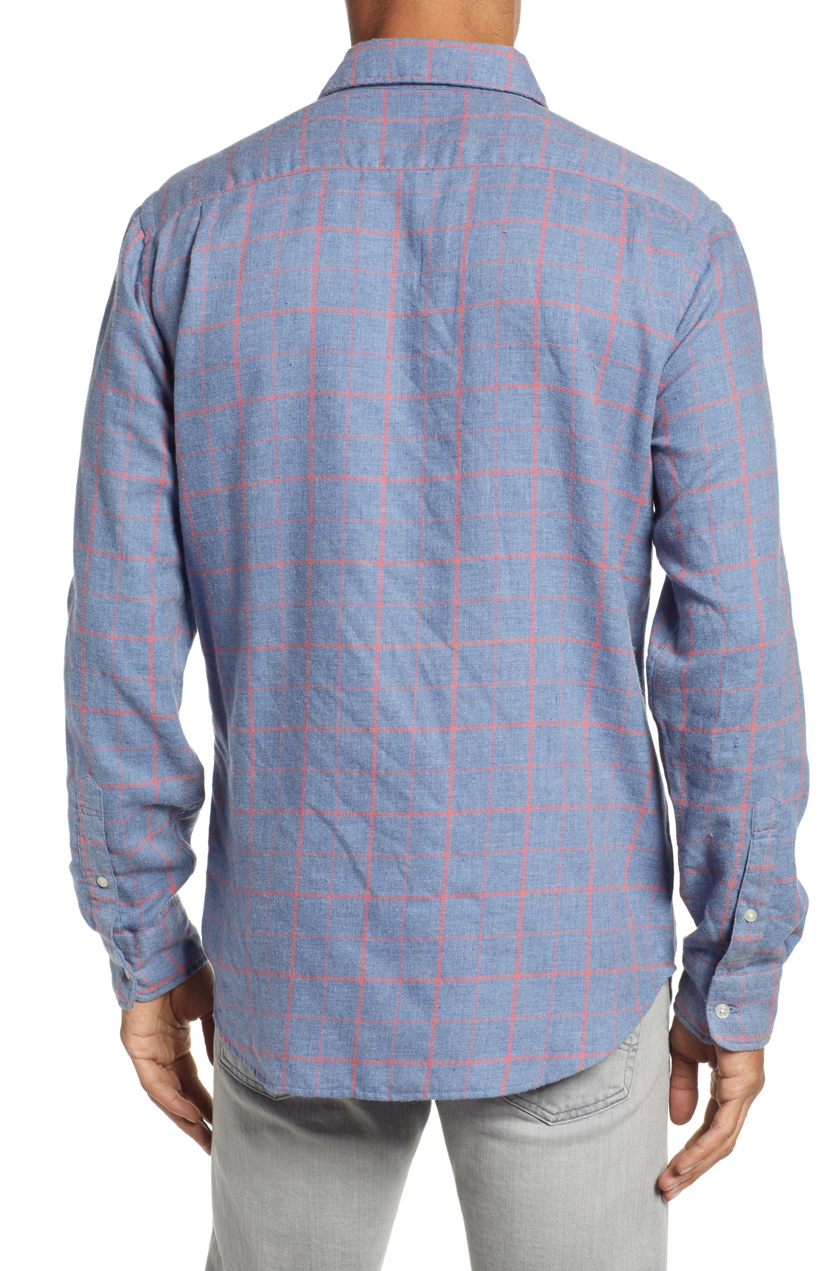 Ventura Windowpane Sport Shirt,                             Alternate thumbnail 3, color,                             BLUE MELANGE WINDOWPANE