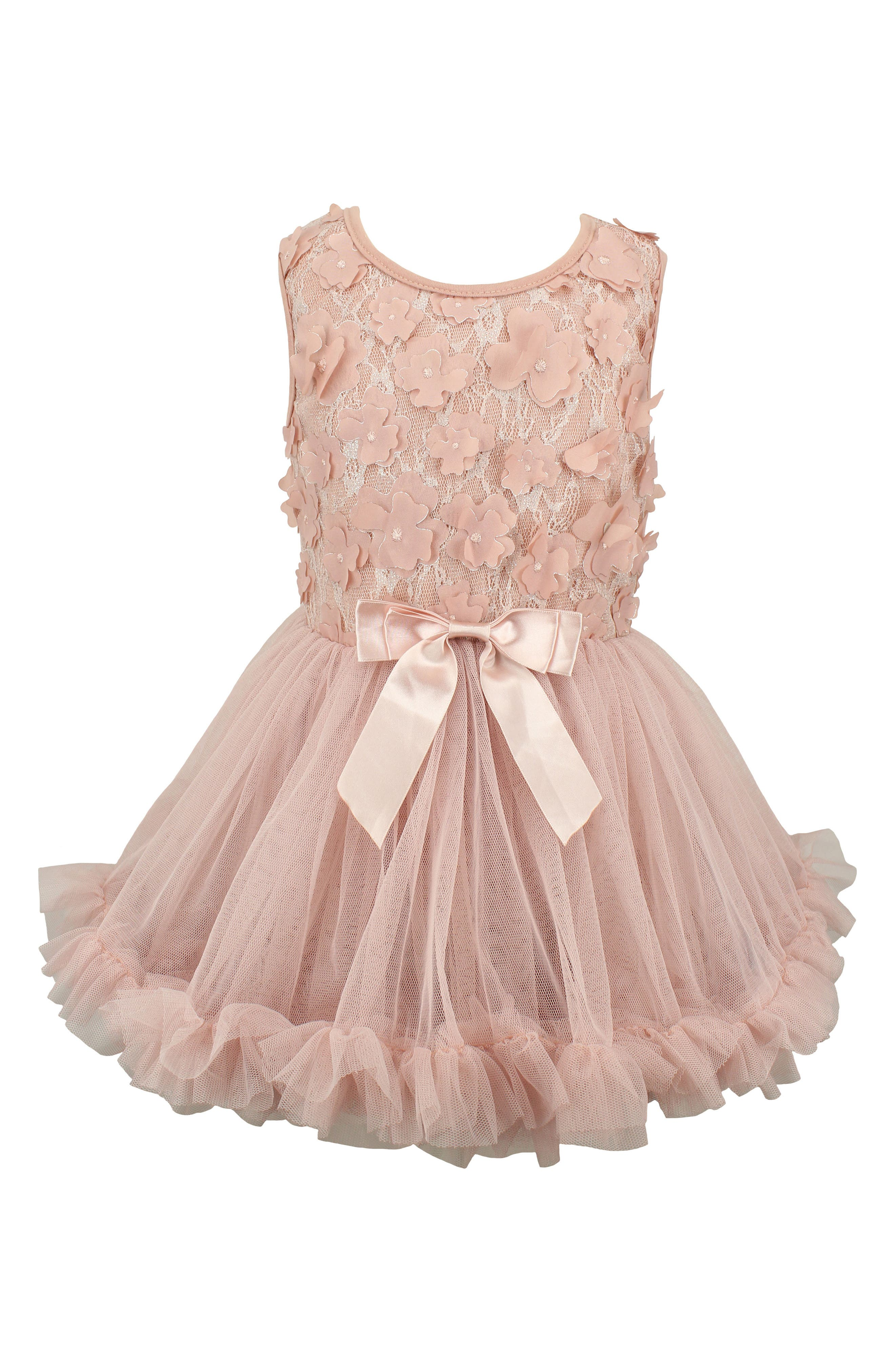Flower Tulle Dress,                             Main thumbnail 1, color,                             DUSTY PINK