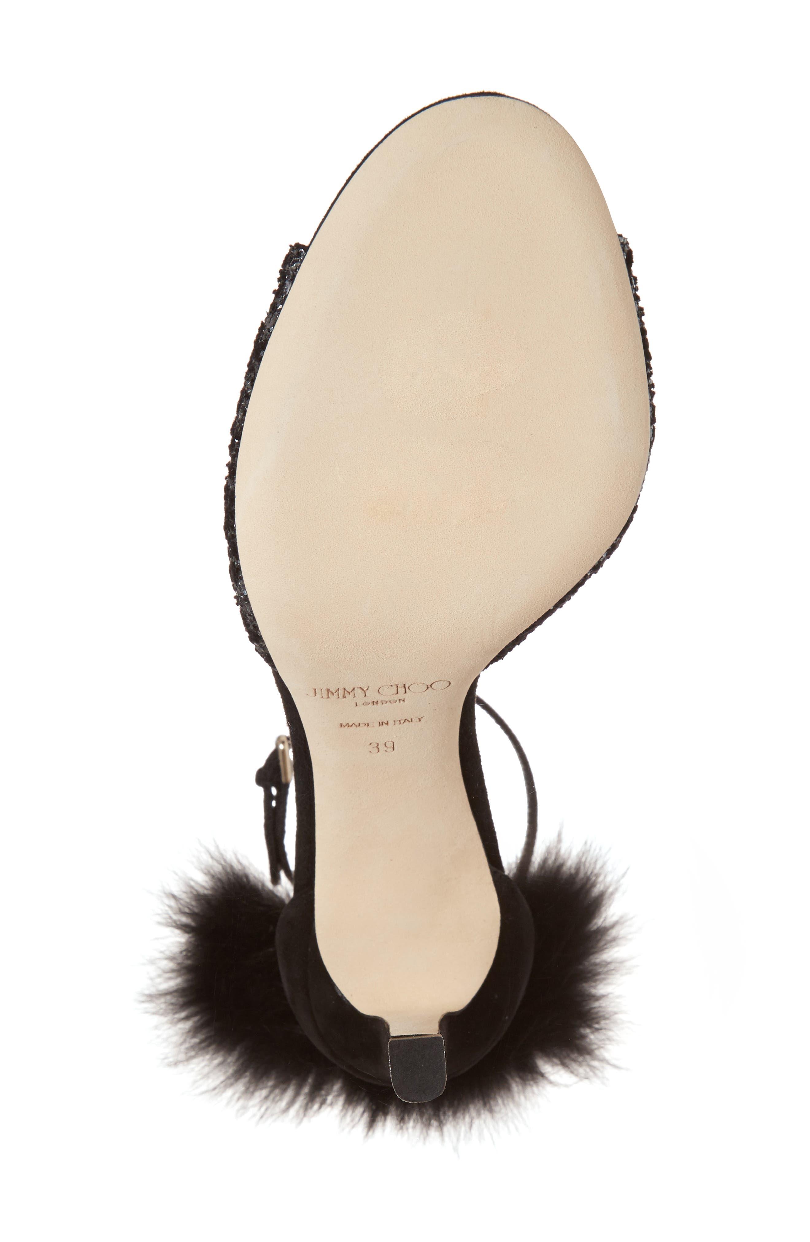 Suri Genuine Fox Fur Sandal,                             Alternate thumbnail 6, color,                             002