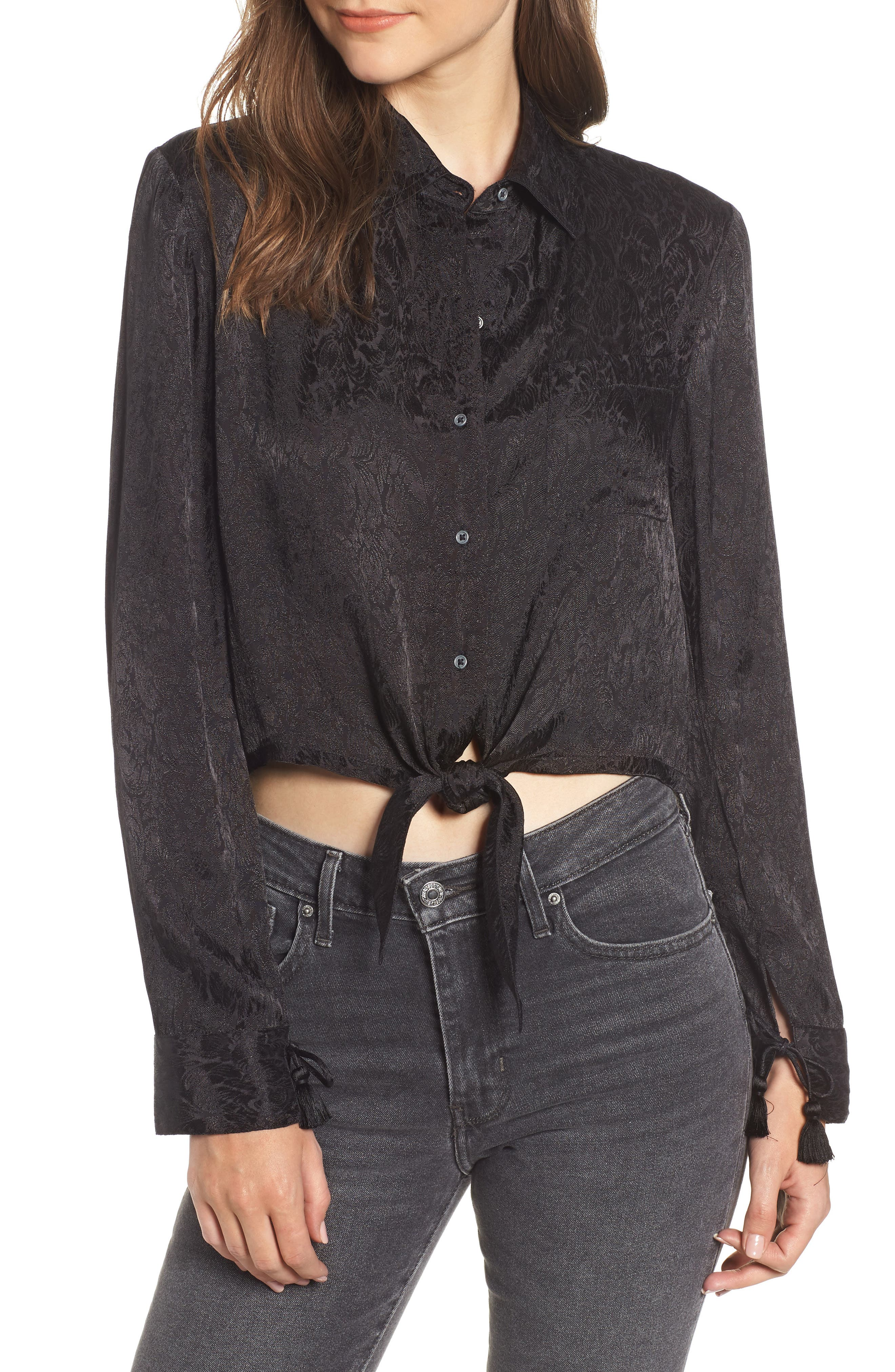 Embroidered Button Tie Blouse,                             Main thumbnail 1, color,                             BLACK