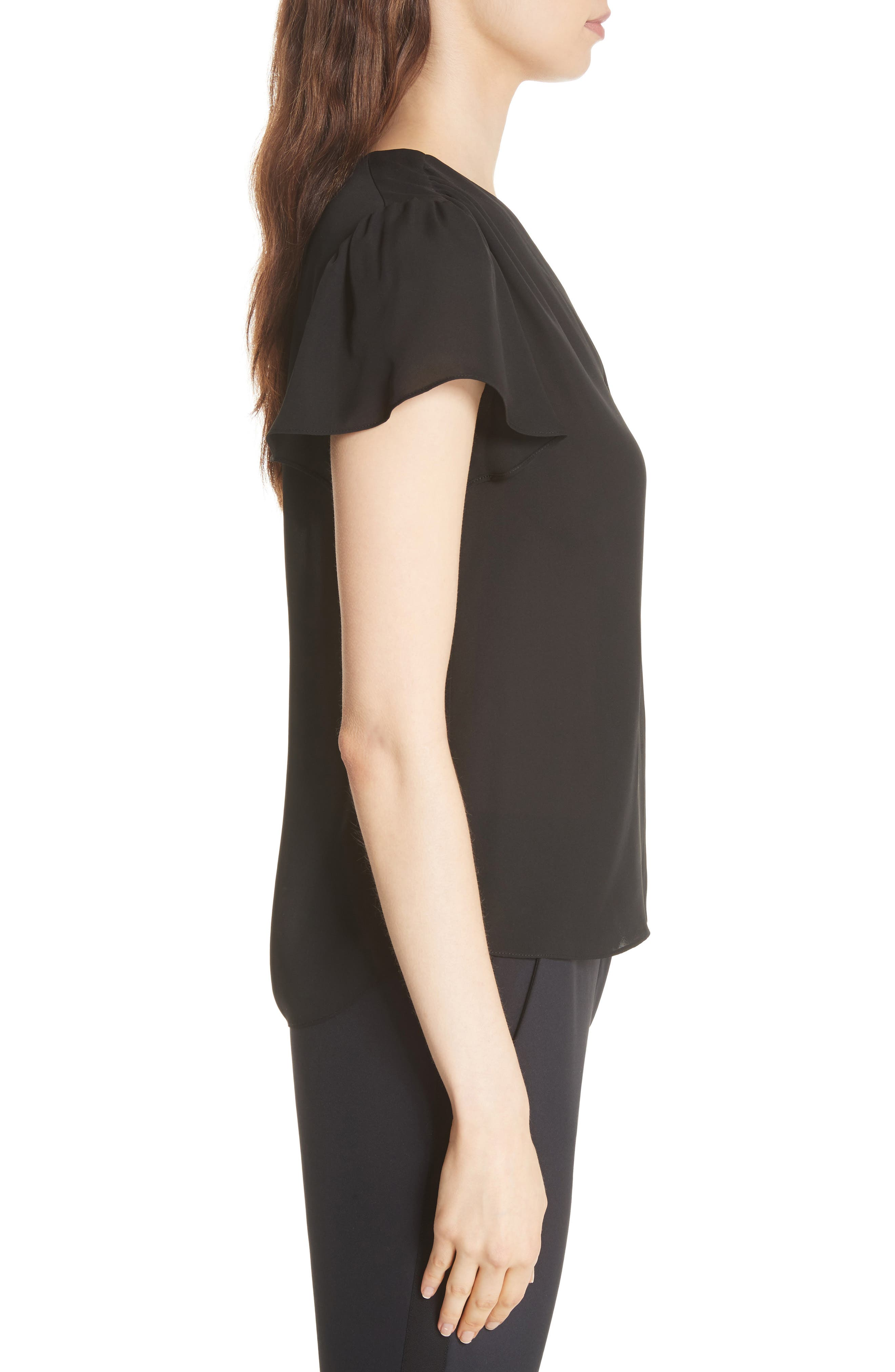 Celina Silk Top,                             Alternate thumbnail 3, color,                             BLACK