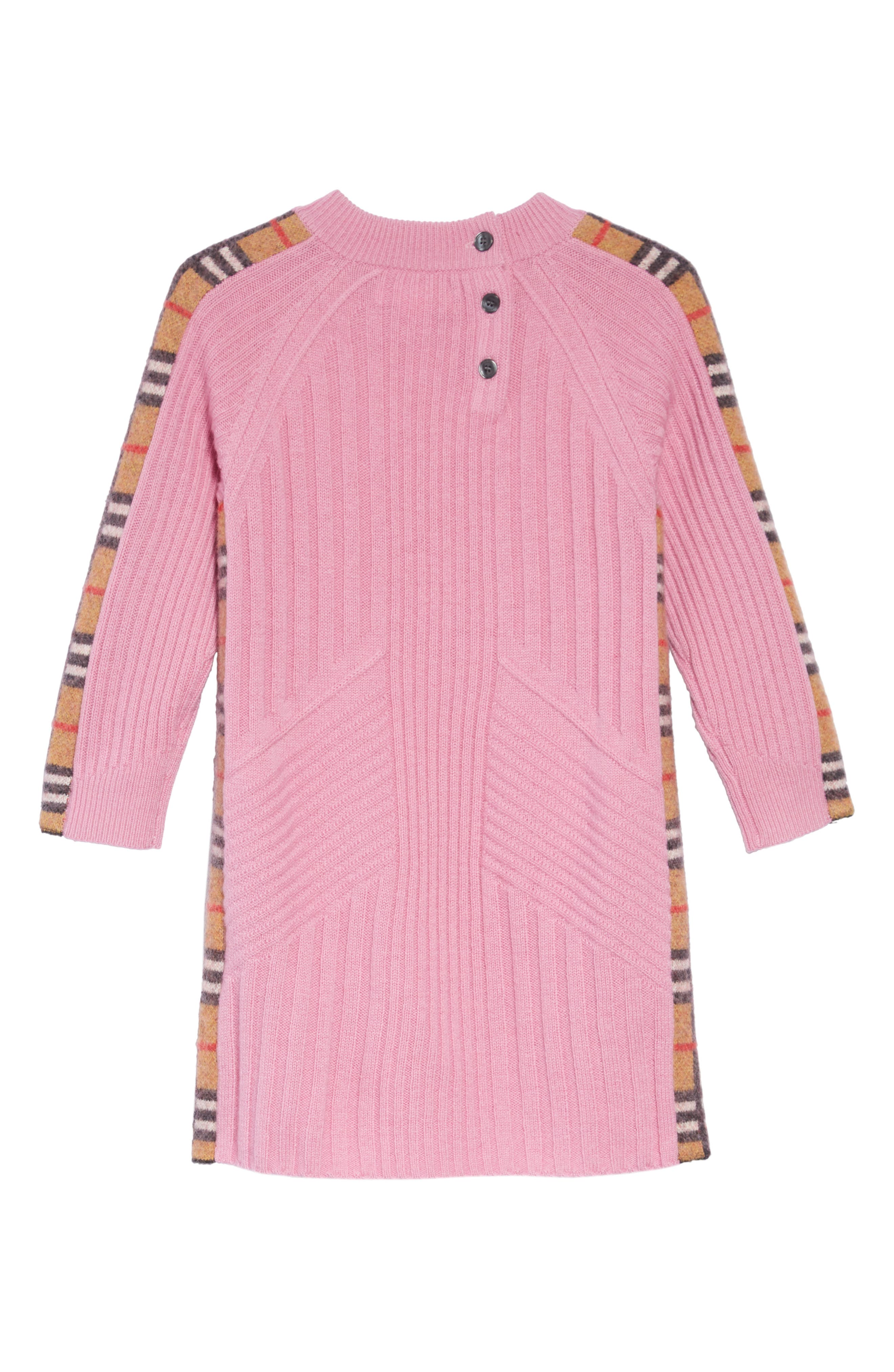 Kids Cathina Check Detail Wool & Cashmere Sweater Dress,                             Alternate thumbnail 2, color,                             ROSE PINK
