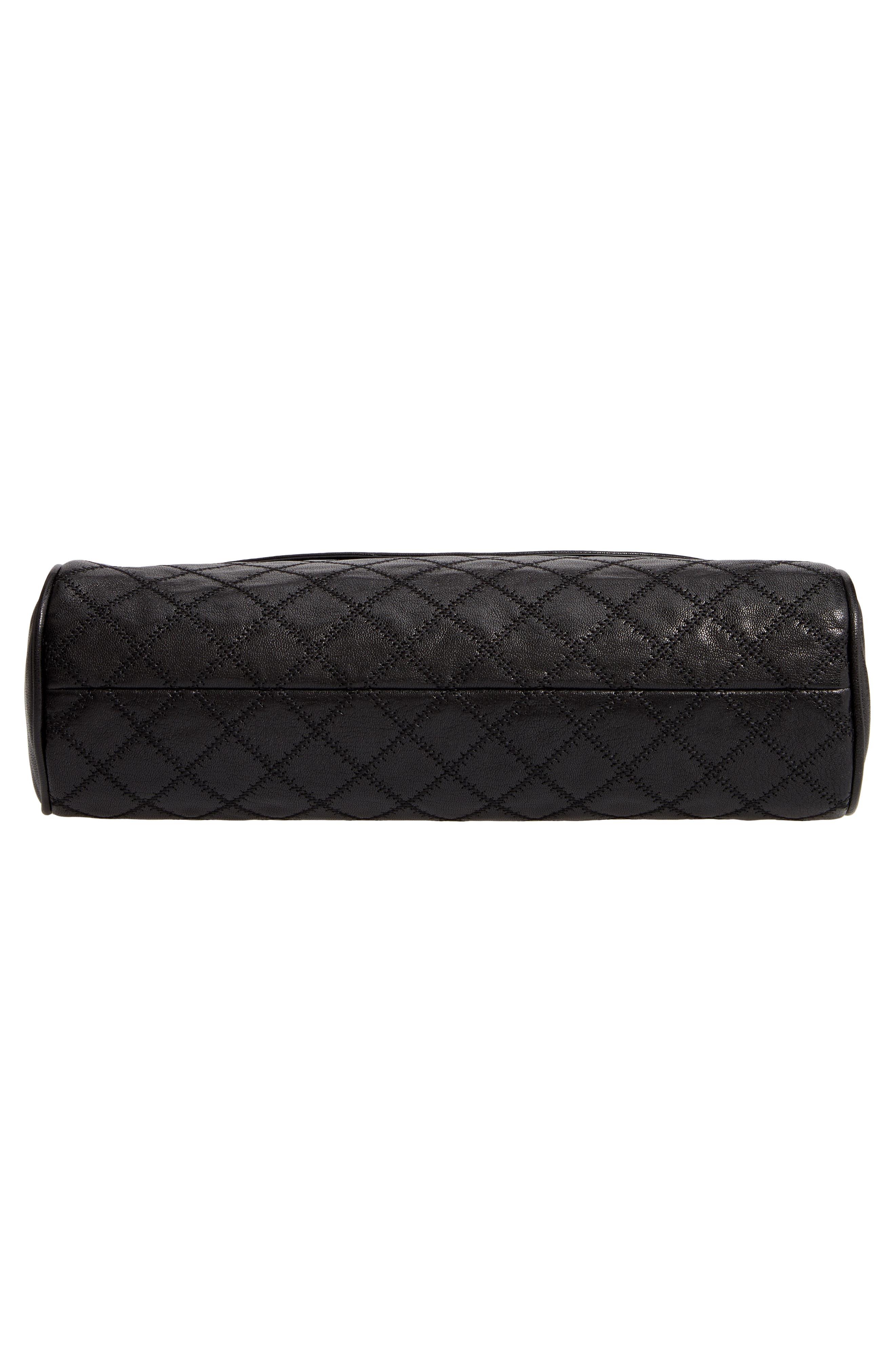 Fleming Leather Foldover Hobo,                             Alternate thumbnail 6, color,                             BLACK