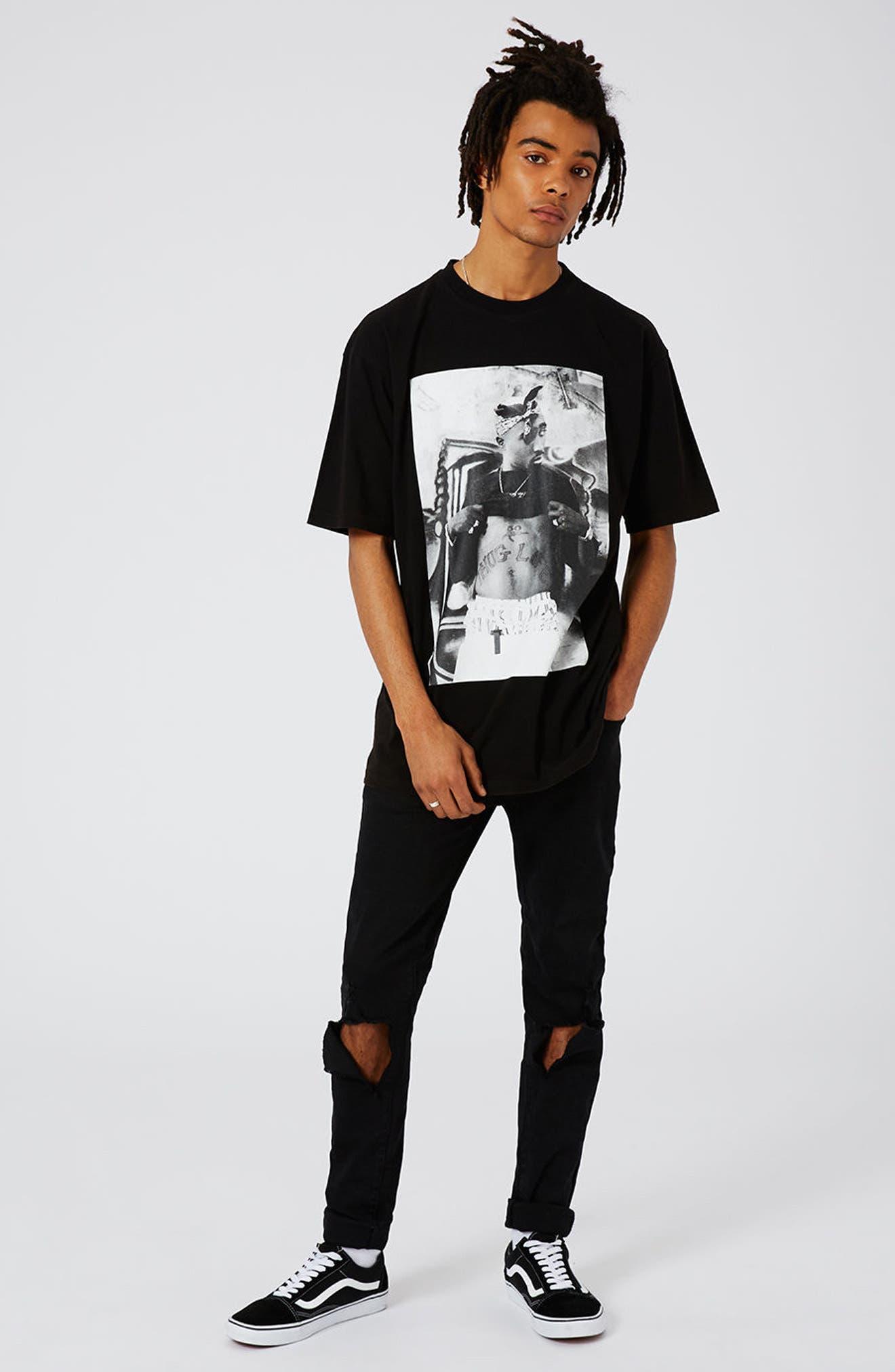 Tupac Graphic Oversize T-Shirt,                             Alternate thumbnail 4, color,                             001