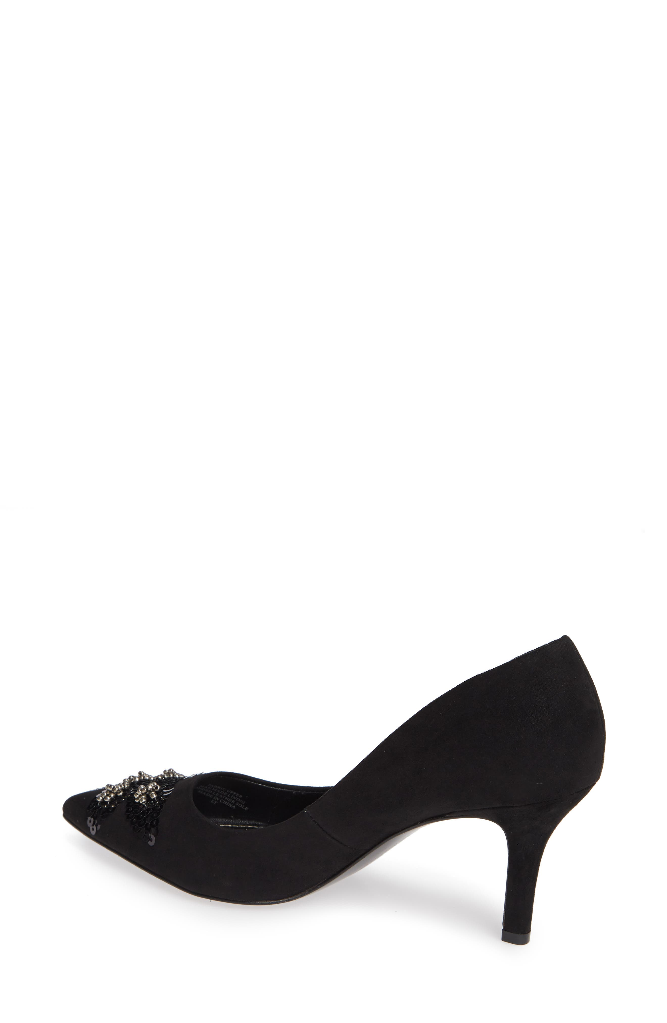Sophie Embellished Pump,                             Alternate thumbnail 2, color,                             BLACK SUEDE