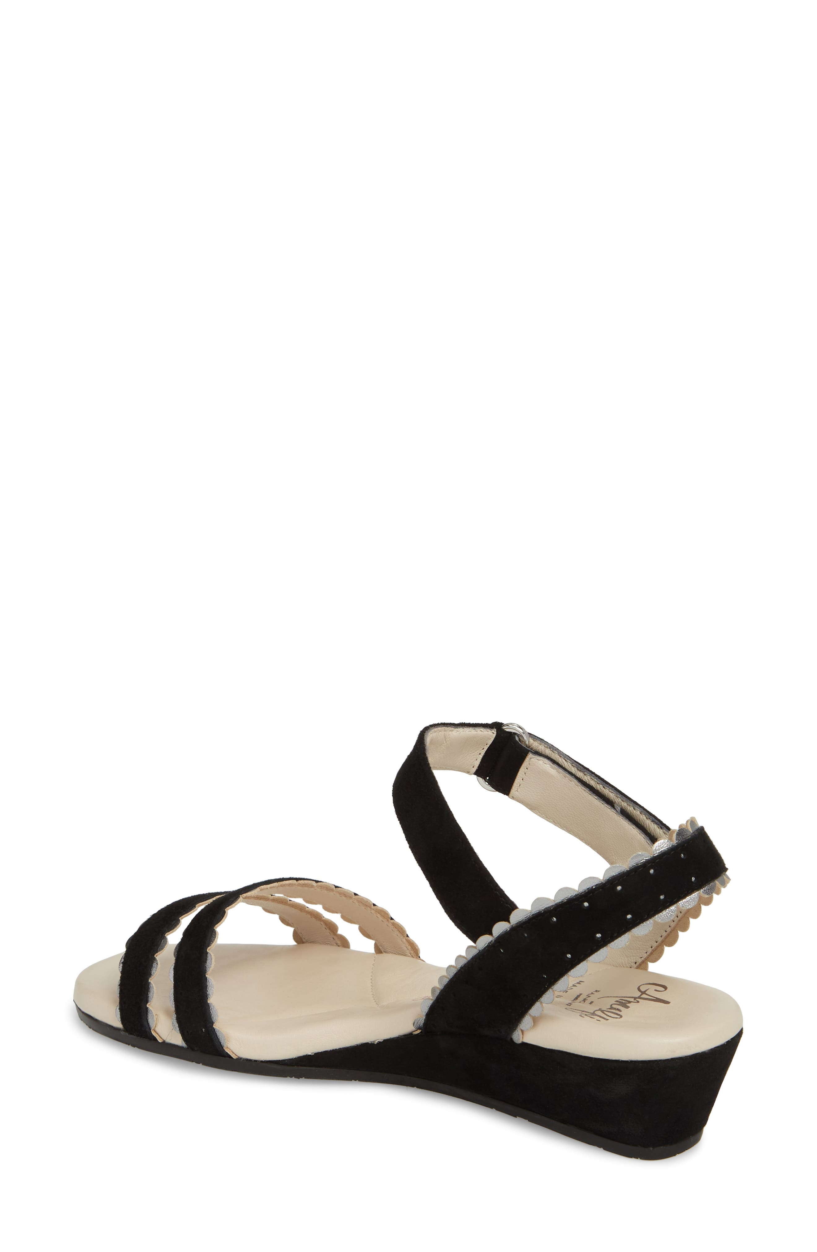 Messina Wedge Sandal,                             Alternate thumbnail 2, color,                             BLACK SUEDE