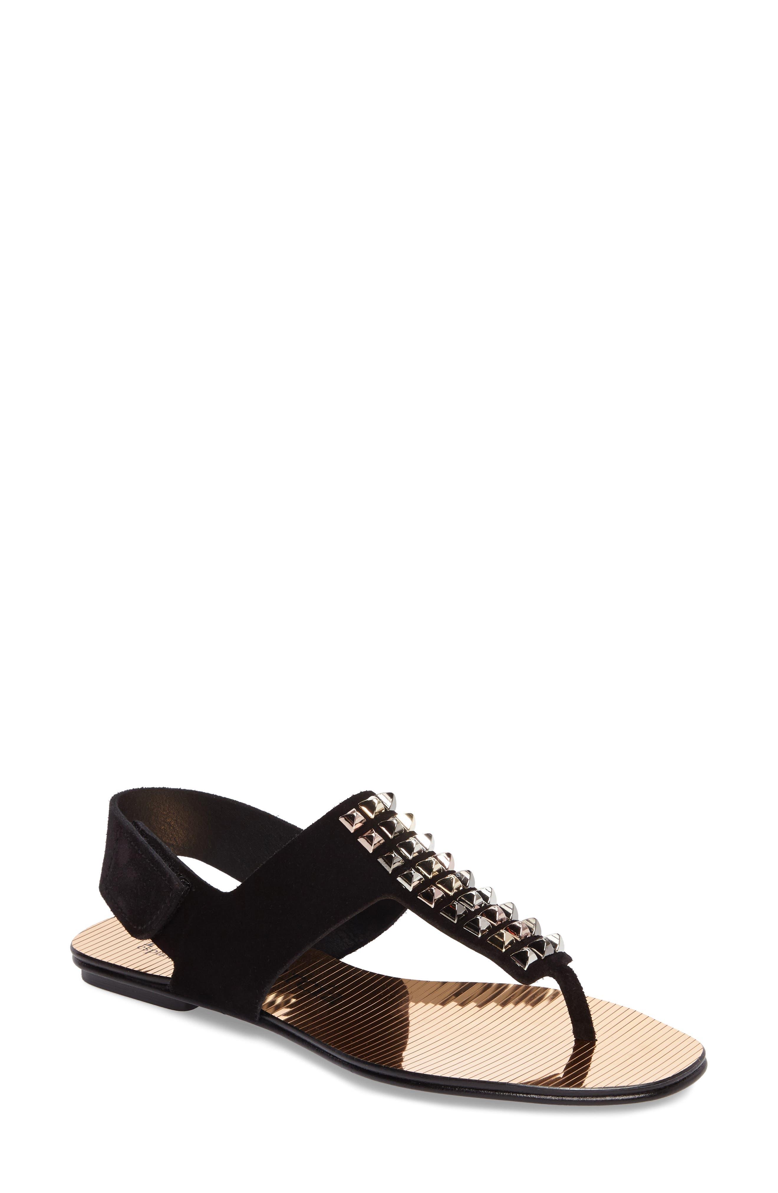 Enid Studded T-Strap Sandal,                         Main,                         color, 001