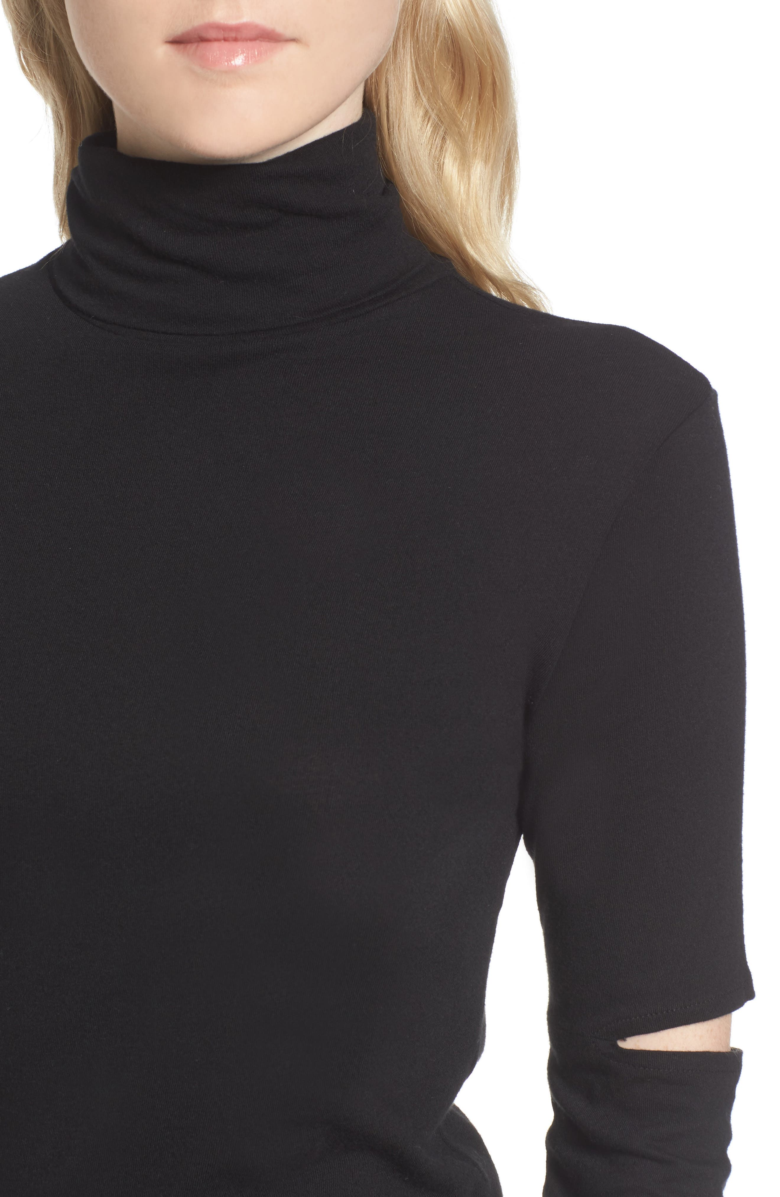 Easton Cutout Turtleneck,                             Alternate thumbnail 4, color,                             001