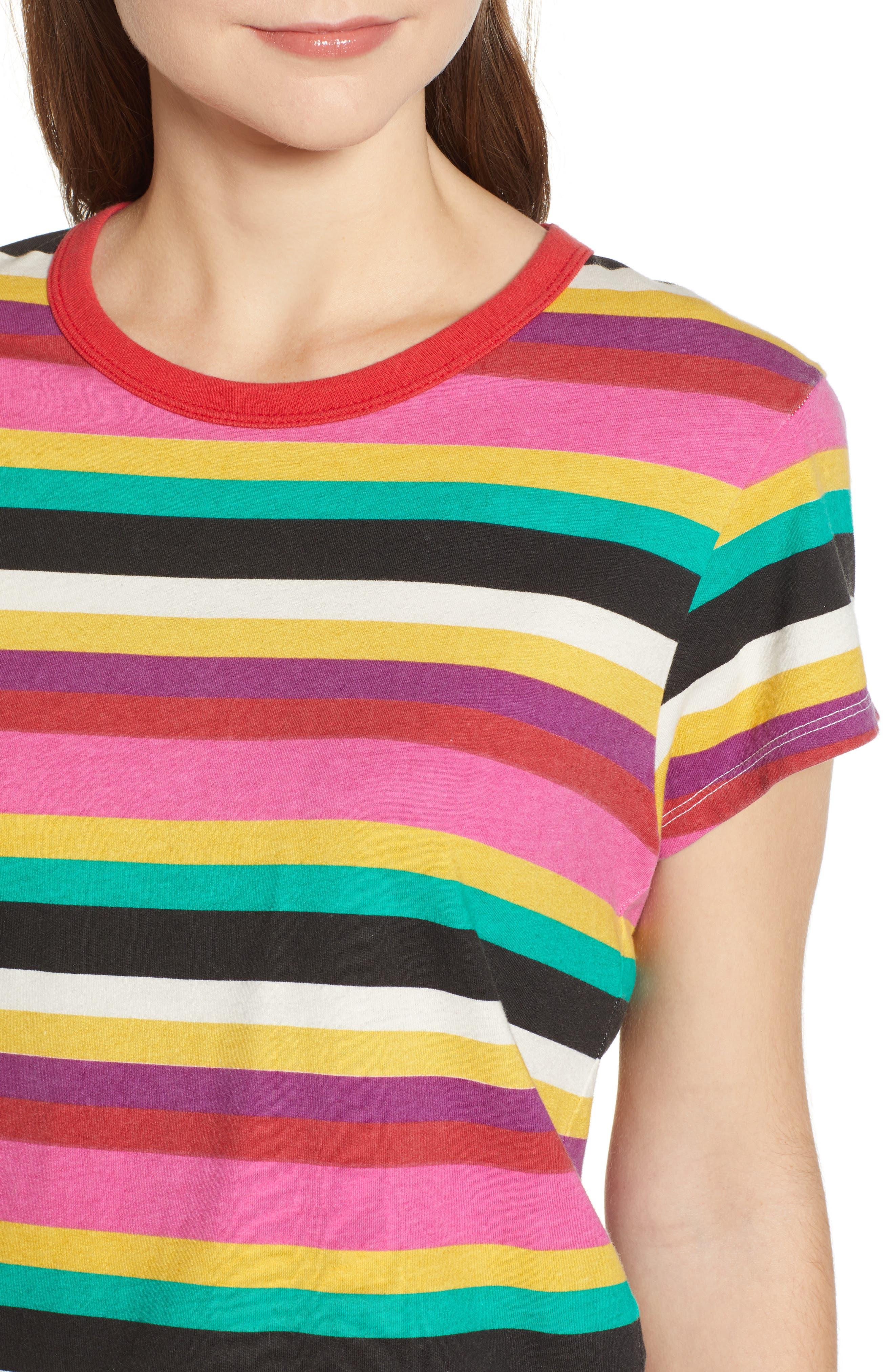 Rainbow Stripe Tee,                             Alternate thumbnail 4, color,                             MULTICOLOR